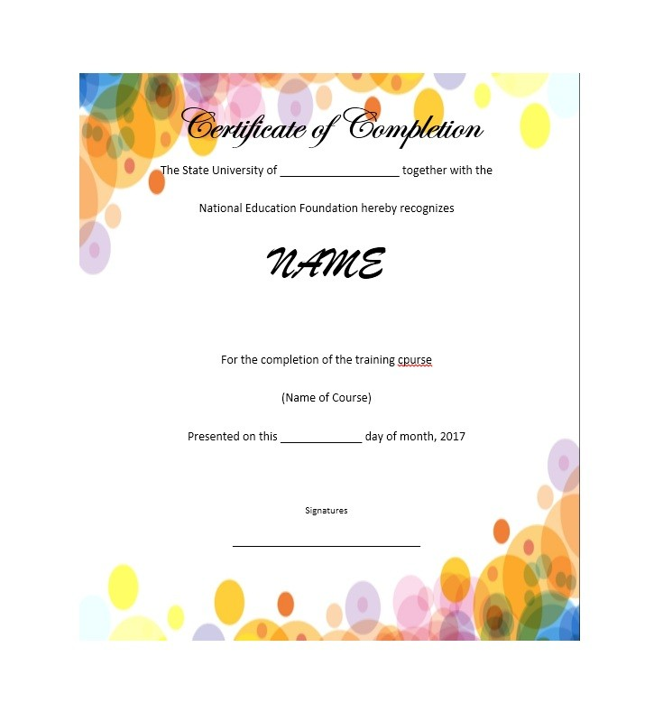 Free Certificate of Completion Template 24