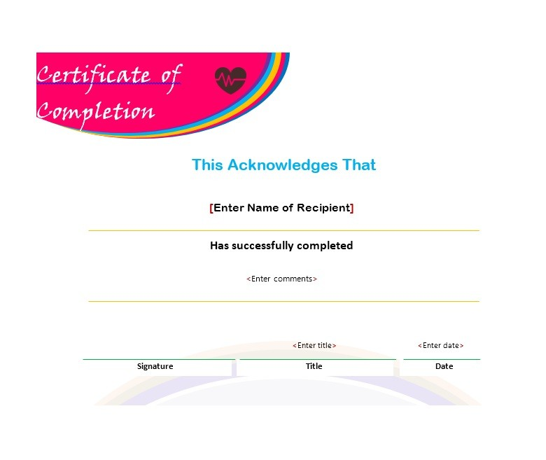 Free Certificate of Completion Template 25