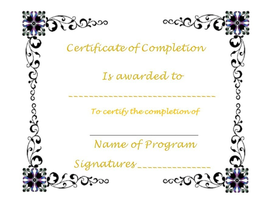 Free Certificate of Completion Template 26