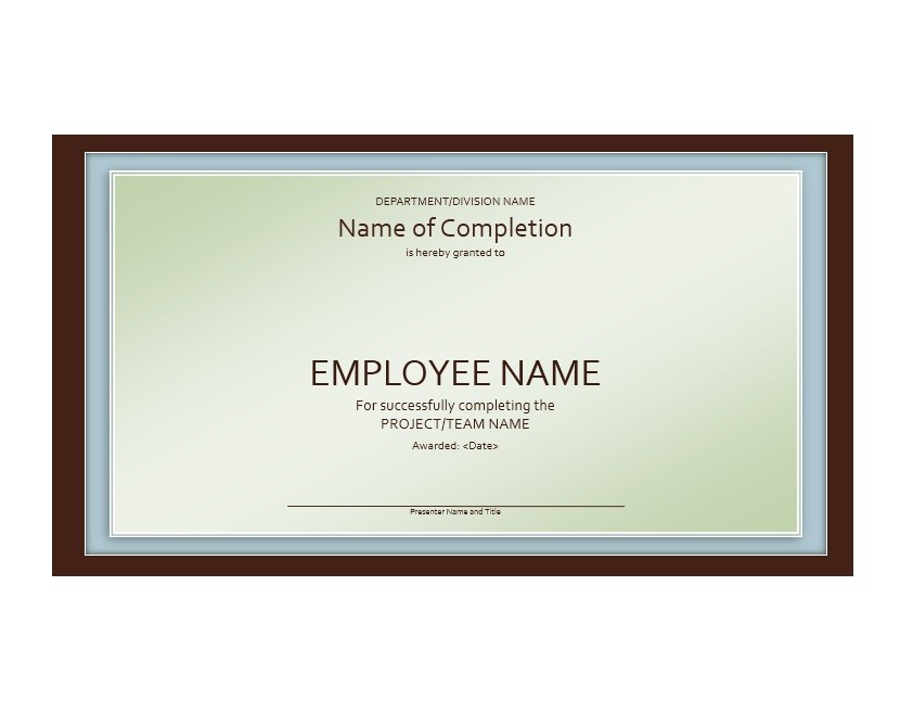 Free Certificate of Completion Template 27