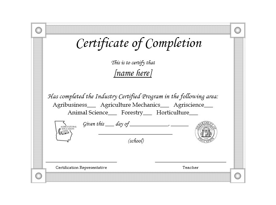 Printable Certificate Of Completion Template 30  Printable Certificates Of Completion