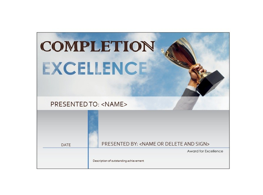 Free Certificate of Completion Template 32