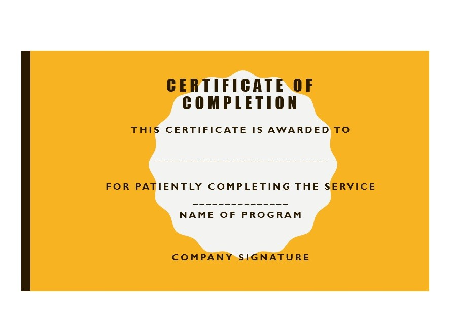Free Certificate of Completion Template 38