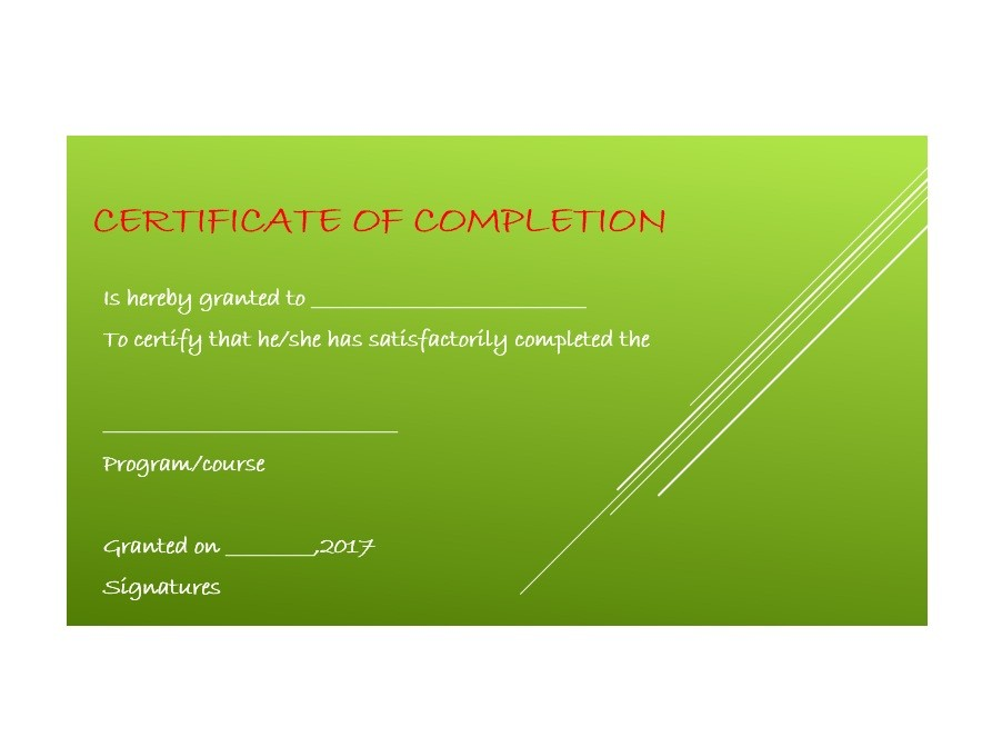Free Certificate of Completion Template 39