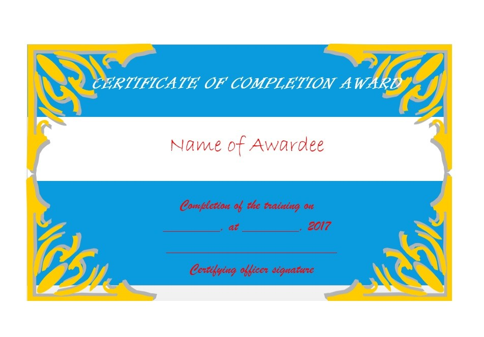 Free Certificate of Completion Template 40