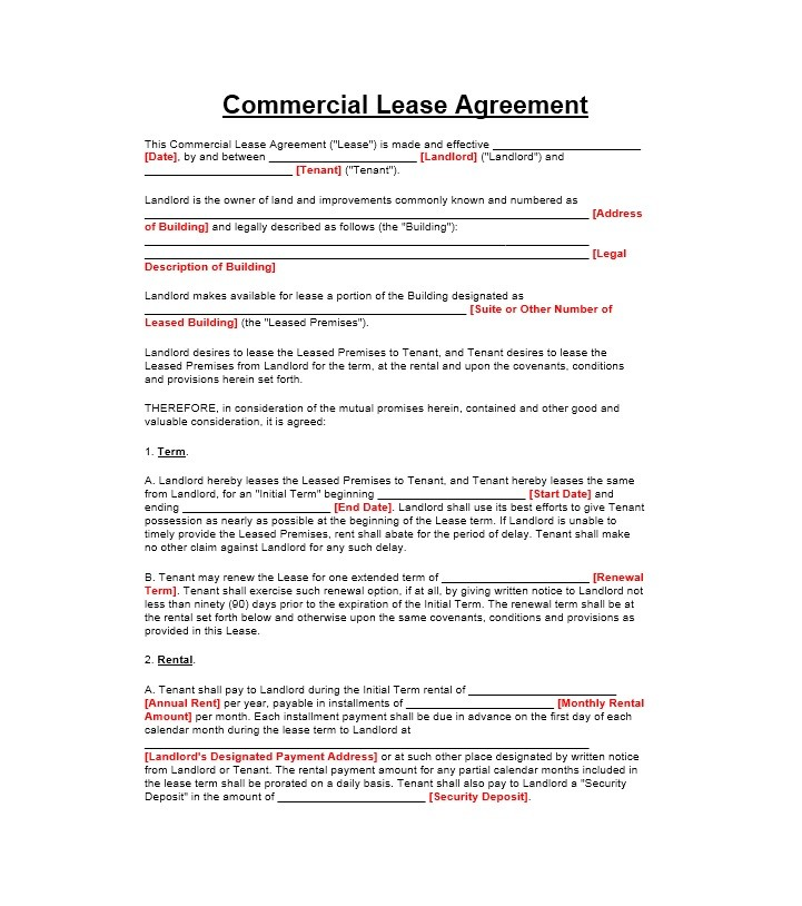 Printable Commercial Lease Agreement Template 01  Commercial Rent Agreement Format