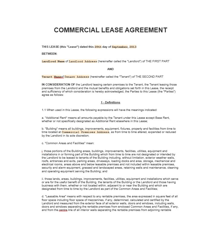 Commercial Lease Agreement Template | 26 Free Commercial Lease Agreement Templates Template Lab