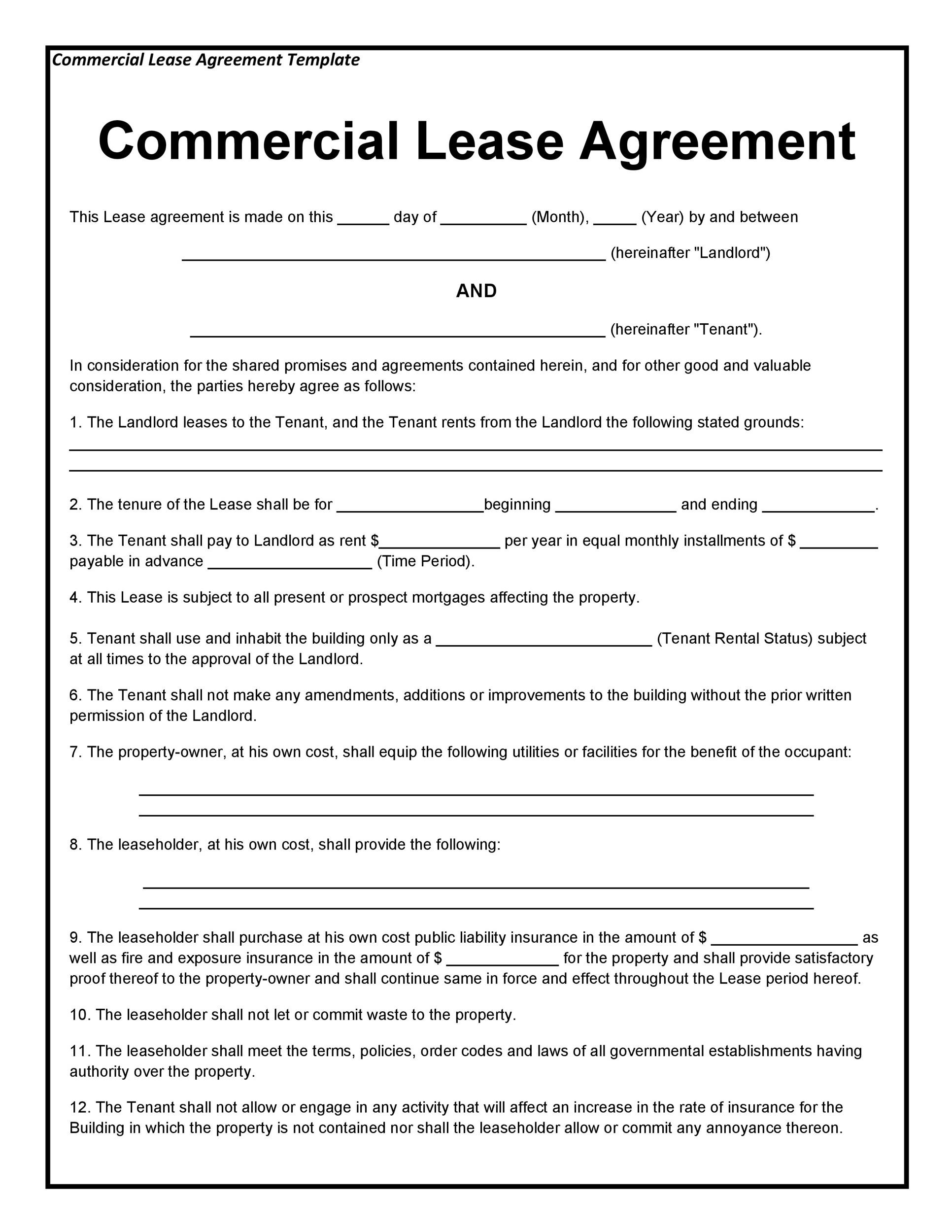 Printable Commercial Lease Agreement Template 04  Free Lease Agreements Templates