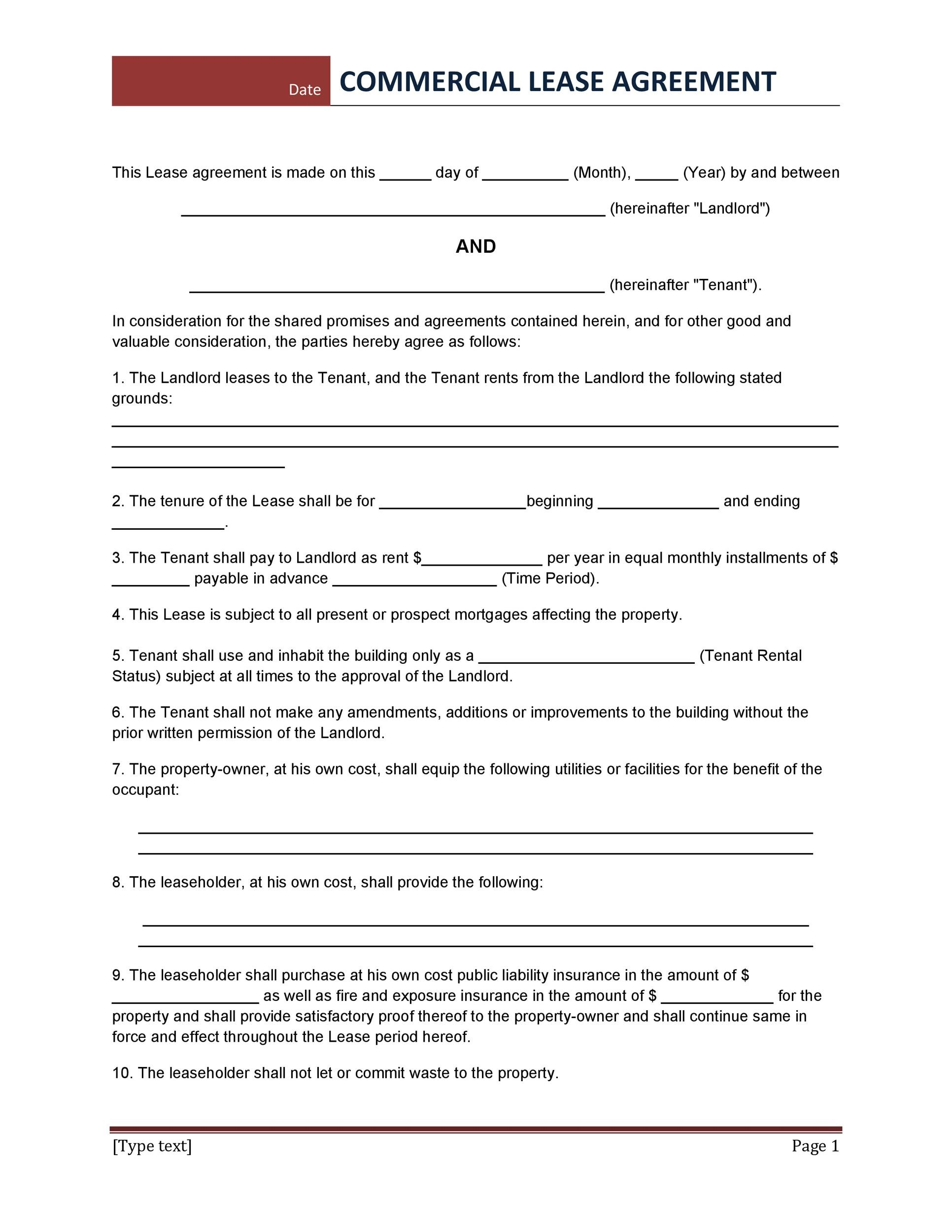 26 Free Commercial Lease Agreement Templates Template Lab – Property Agreement Template