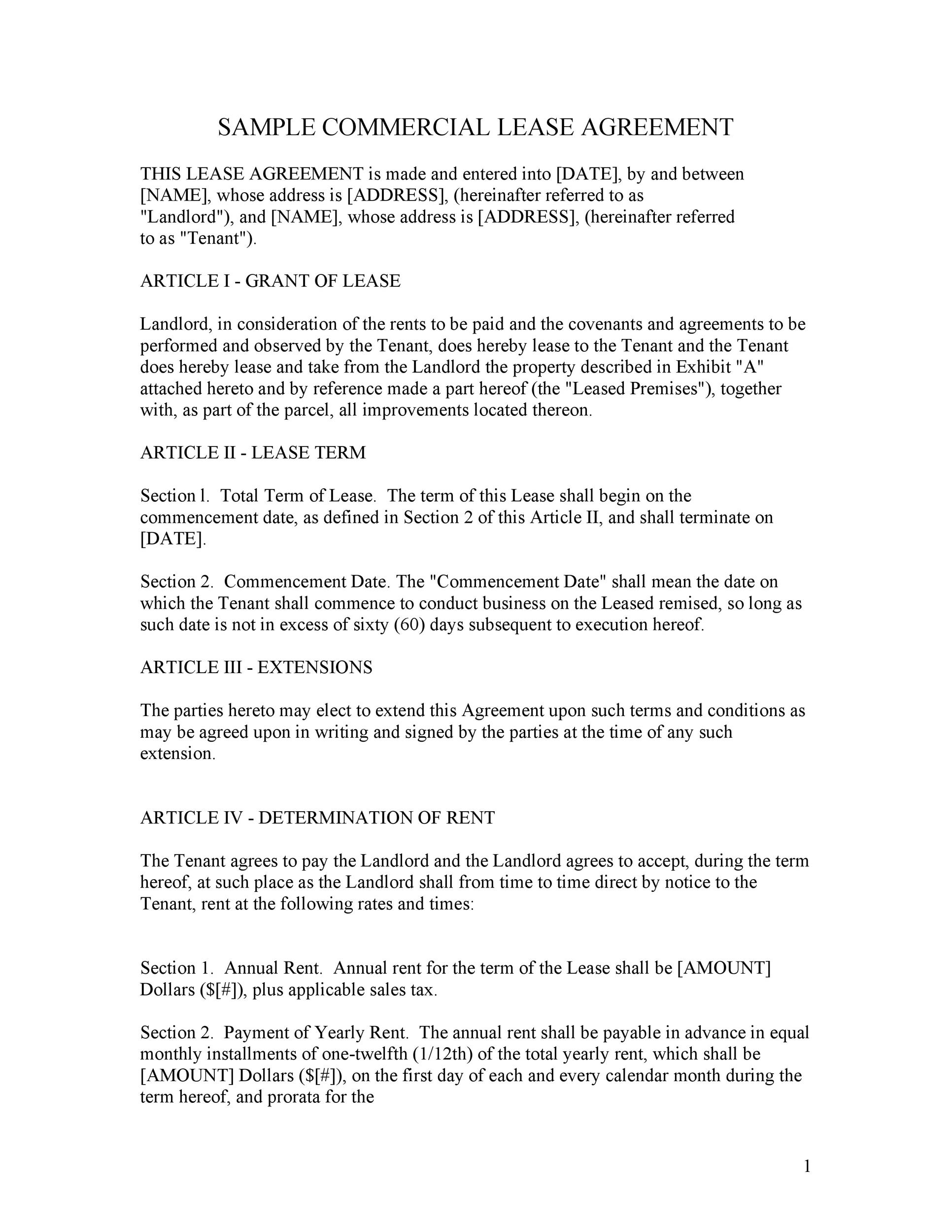 Printable Commercial Lease Agreement Template 07  Commercial Rent Agreement Format