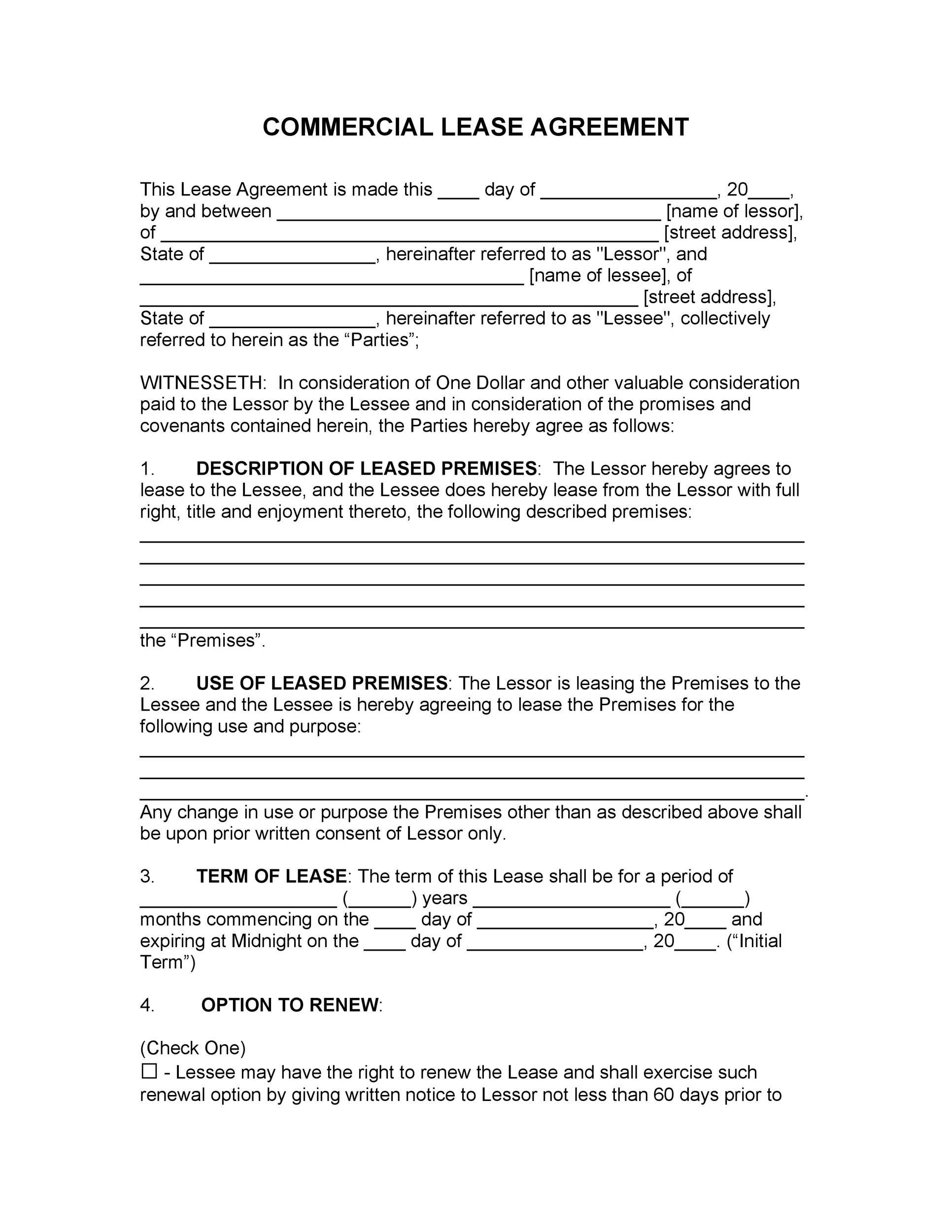Sample Commercial Lease Agreement | 26 Free Commercial Lease Agreement Templates Template Lab