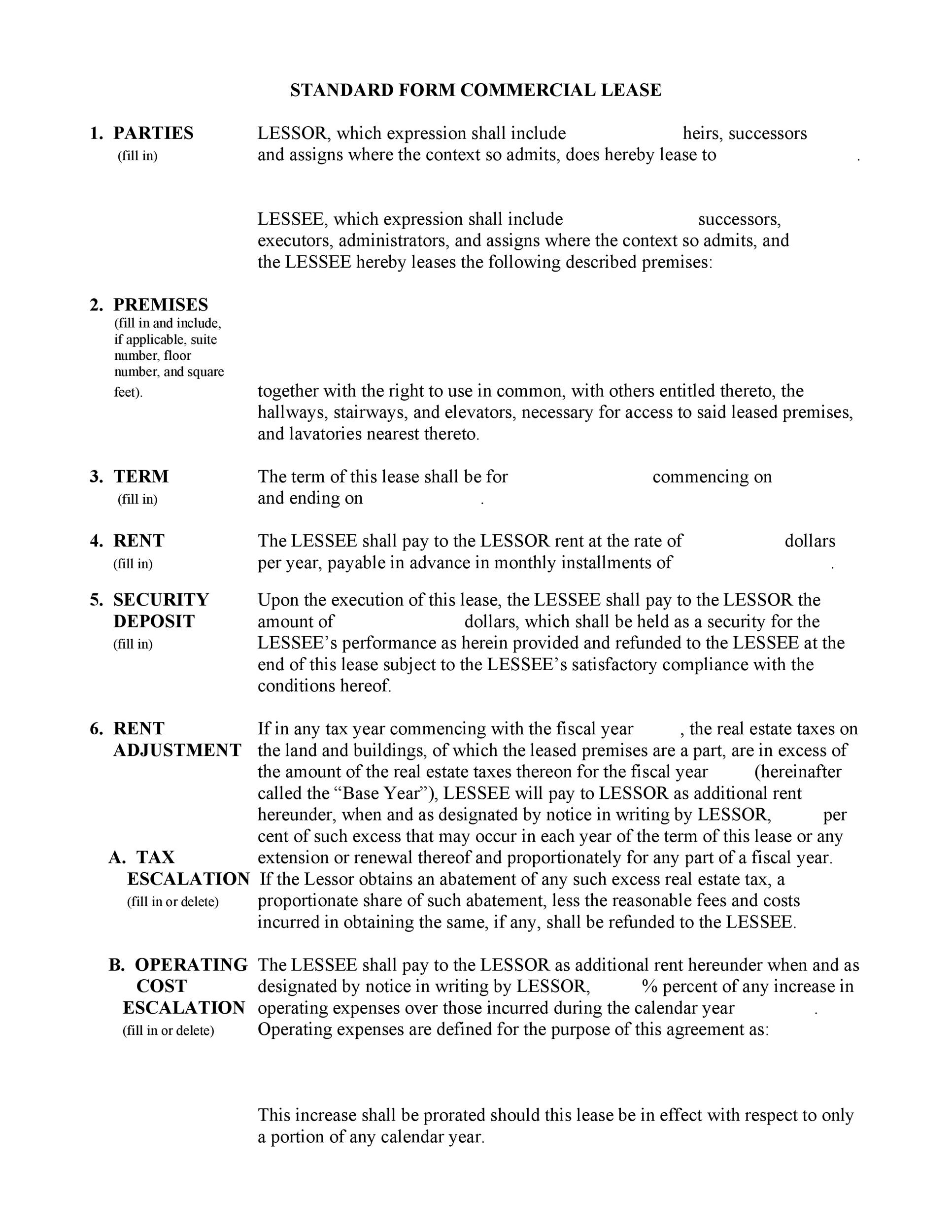 Printable Commercial Lease Agreement Template 09  Free Lease Agreements Templates
