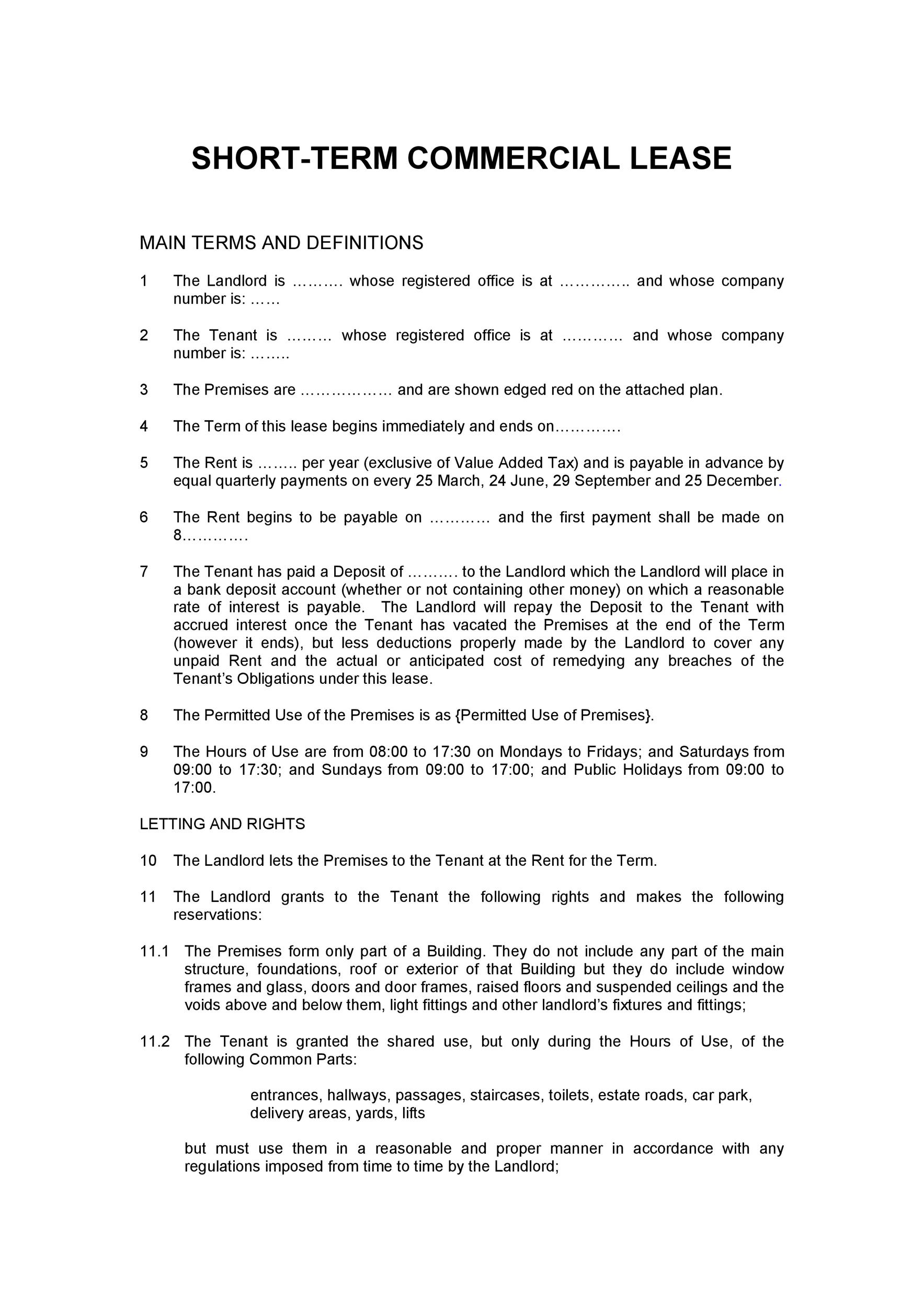 26 Free Commercial Lease Agreement Templates Template Lab – Commercial Lease Agreement Template Free