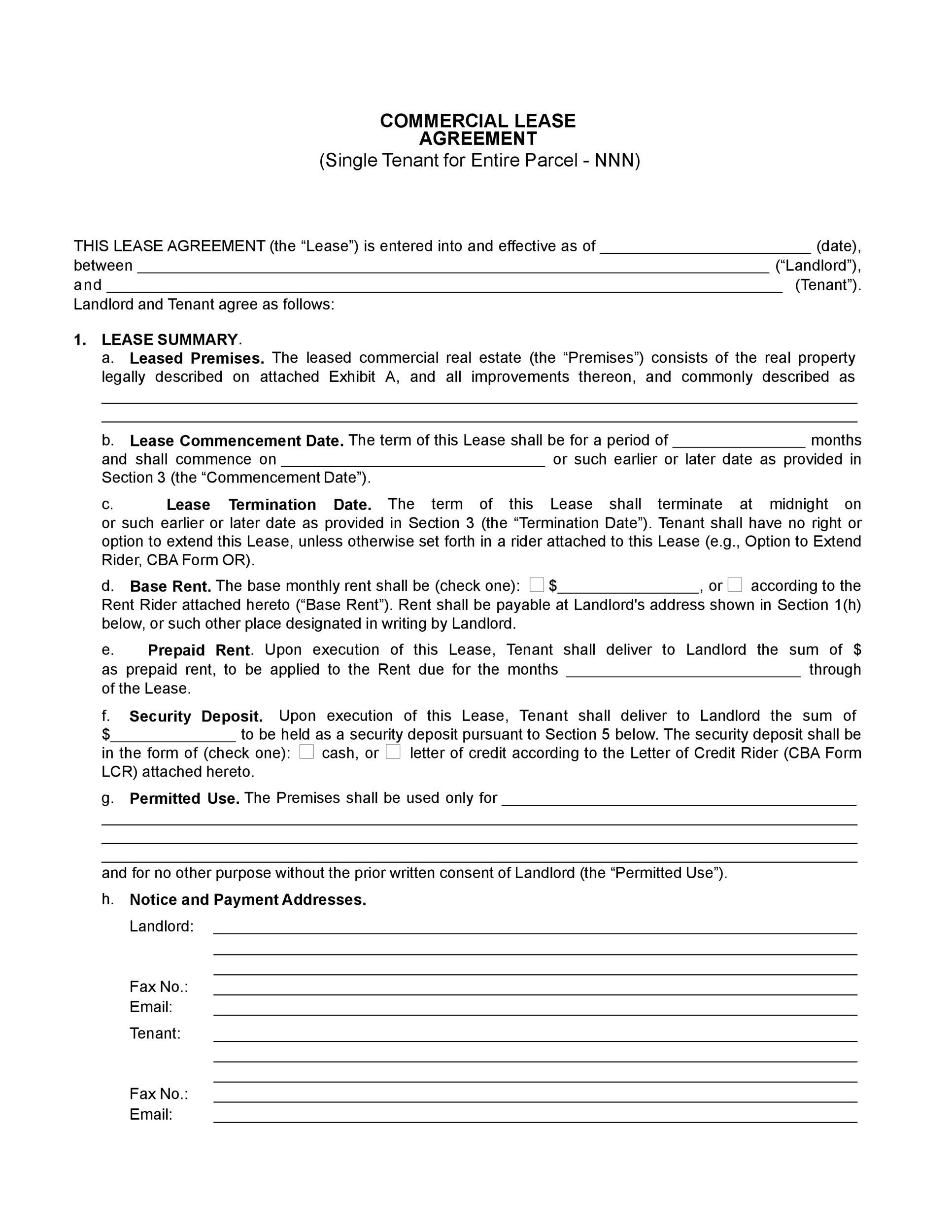 Free Commercial Lease Agreement Templates  Template Lab
