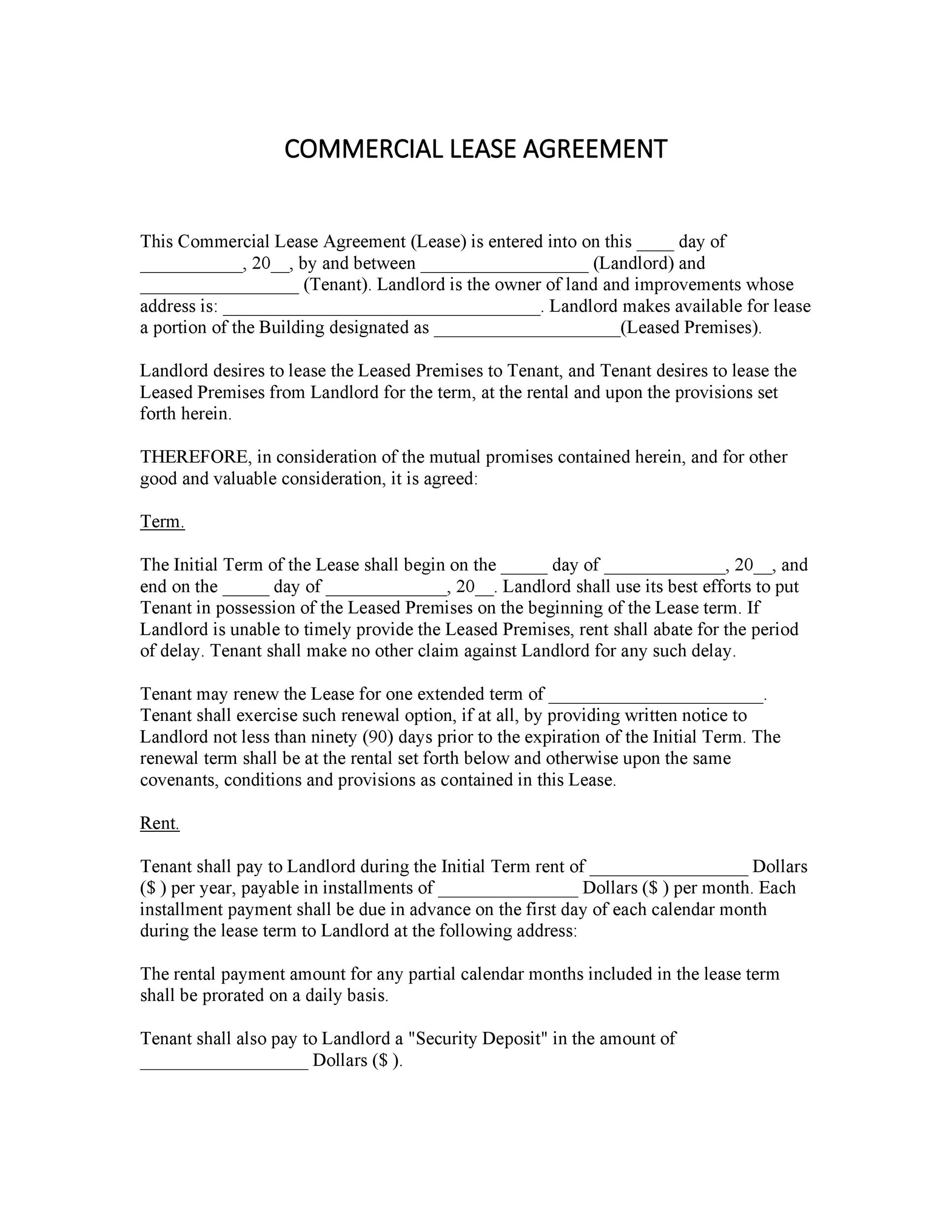 Simple Agreement Commercial Lease Agreement Template Free