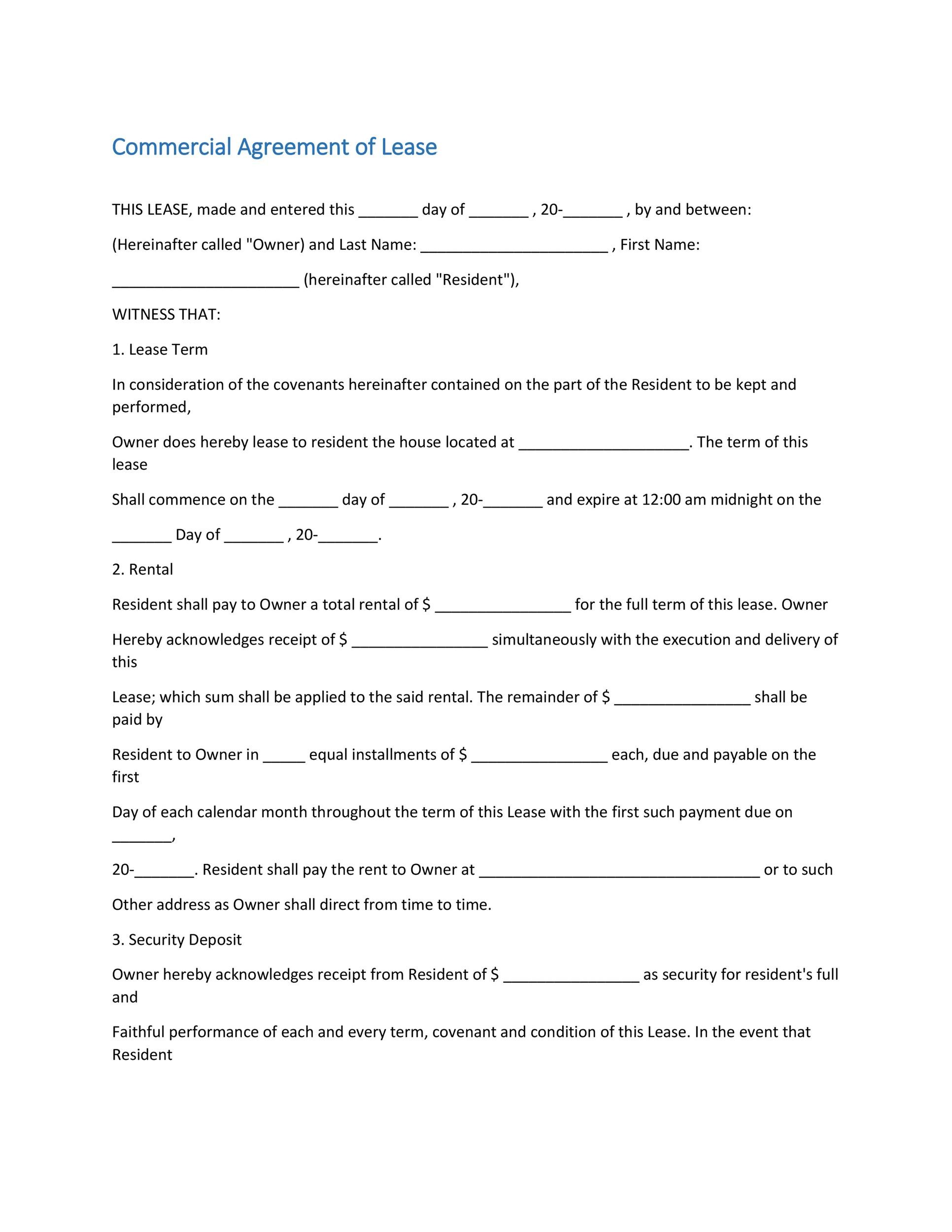 Printable Commercial Lease Agreement Template 16  Commercial Rental Agreement Format