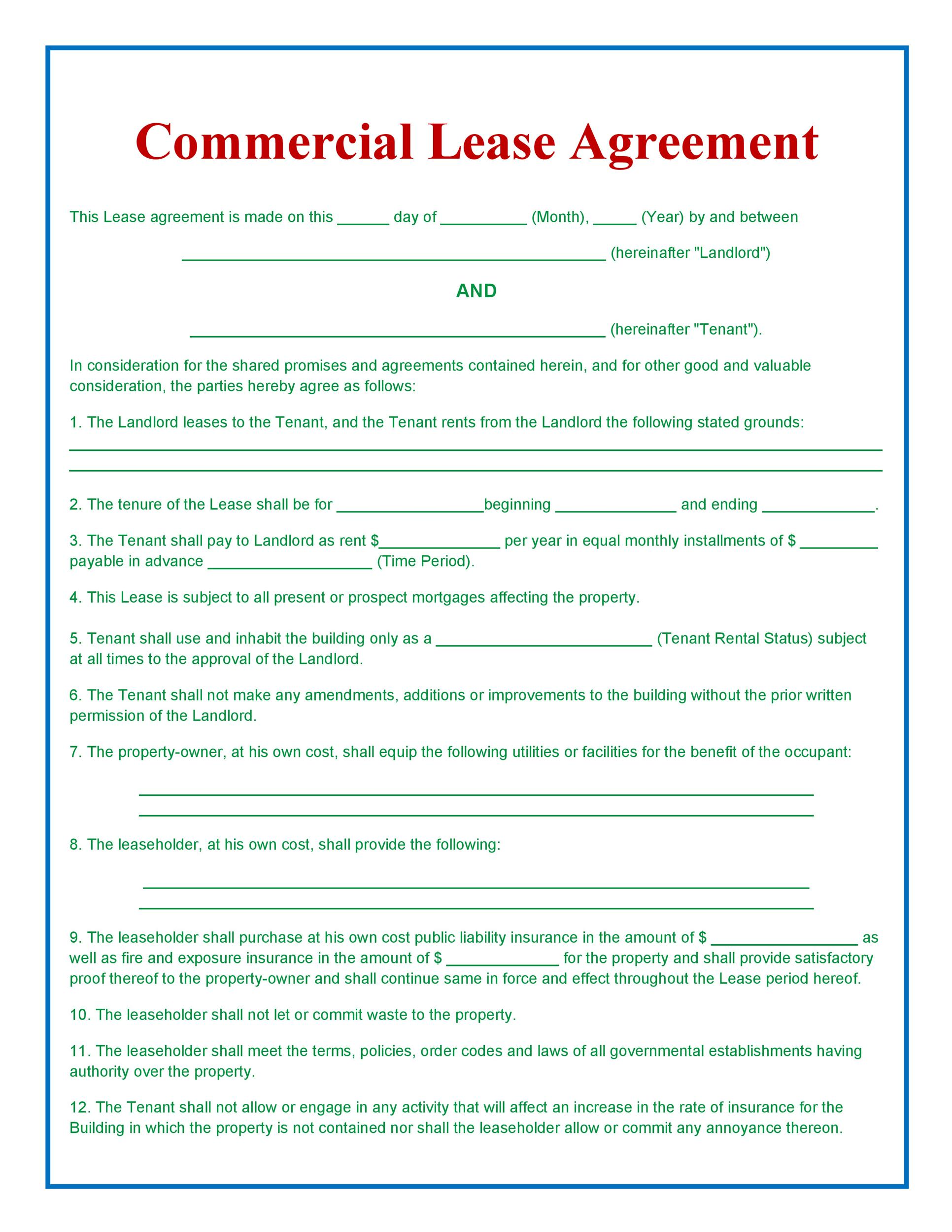 Business Lease Agreement Sample Lease Or Rental Agreement 10 Best – Sample Commercial Lease Agreement