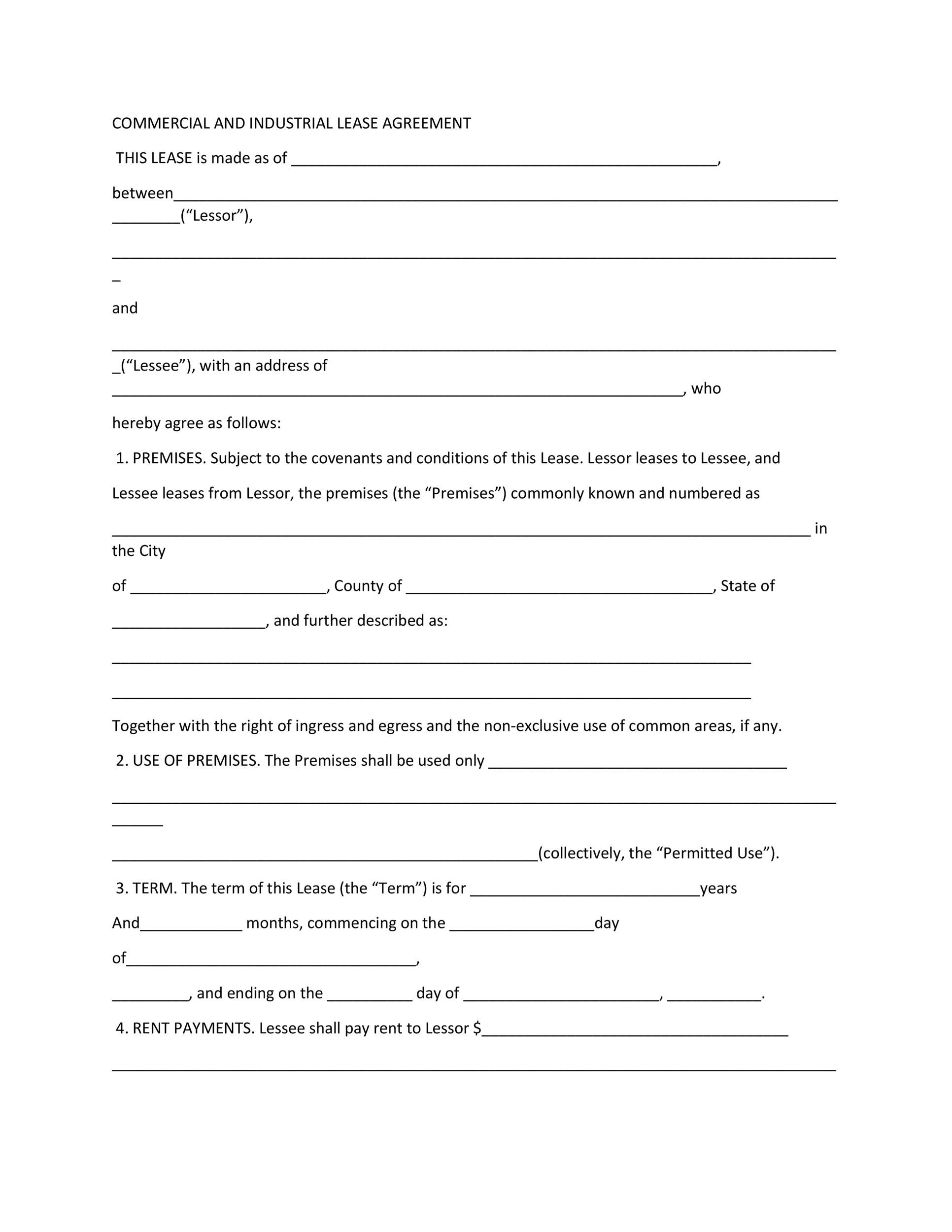 26 Free Commercial Lease Agreement Templates Á… Templatelab
