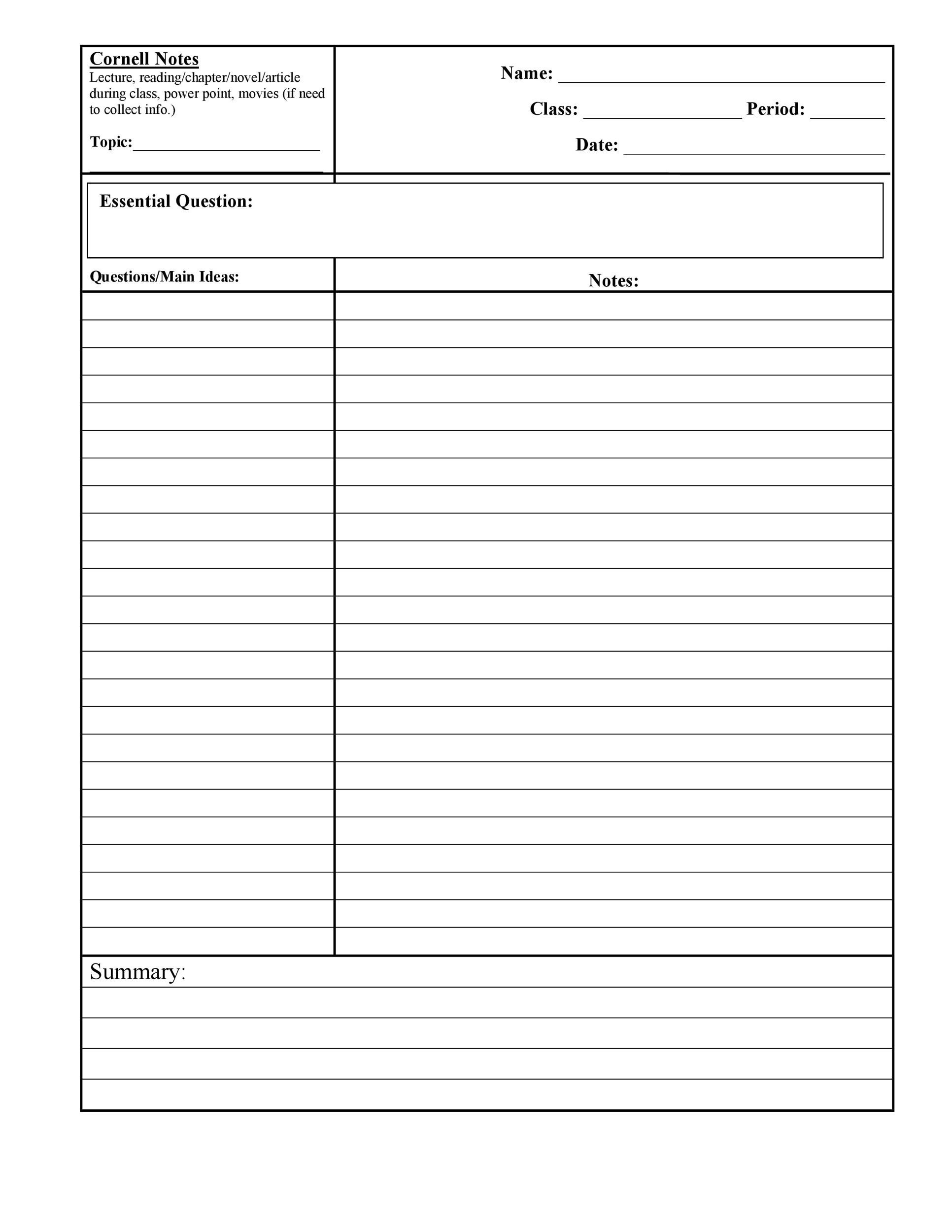 Free Cornell Notes Template 02