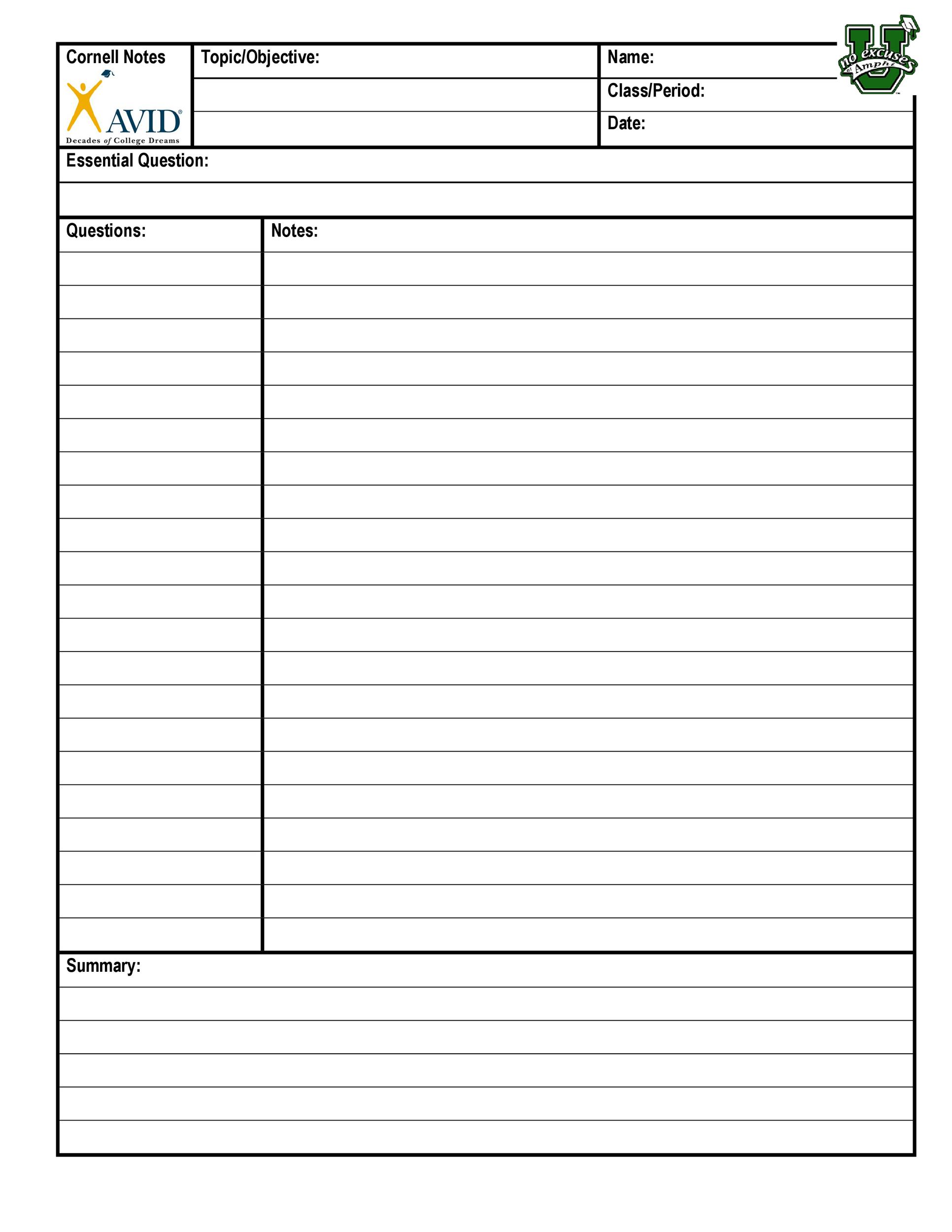 Free Cornell Notes Template 04