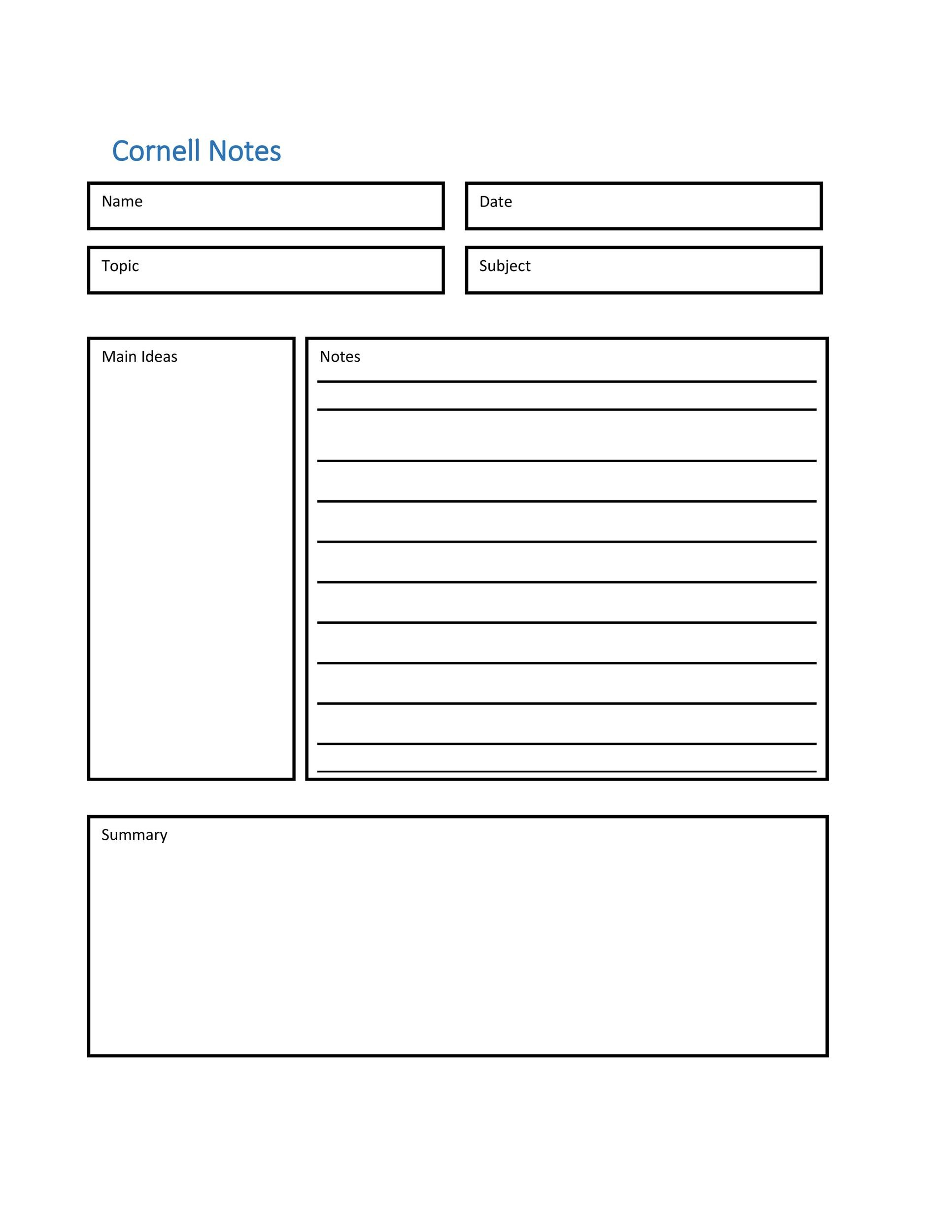 Free Cornell Notes Template 05