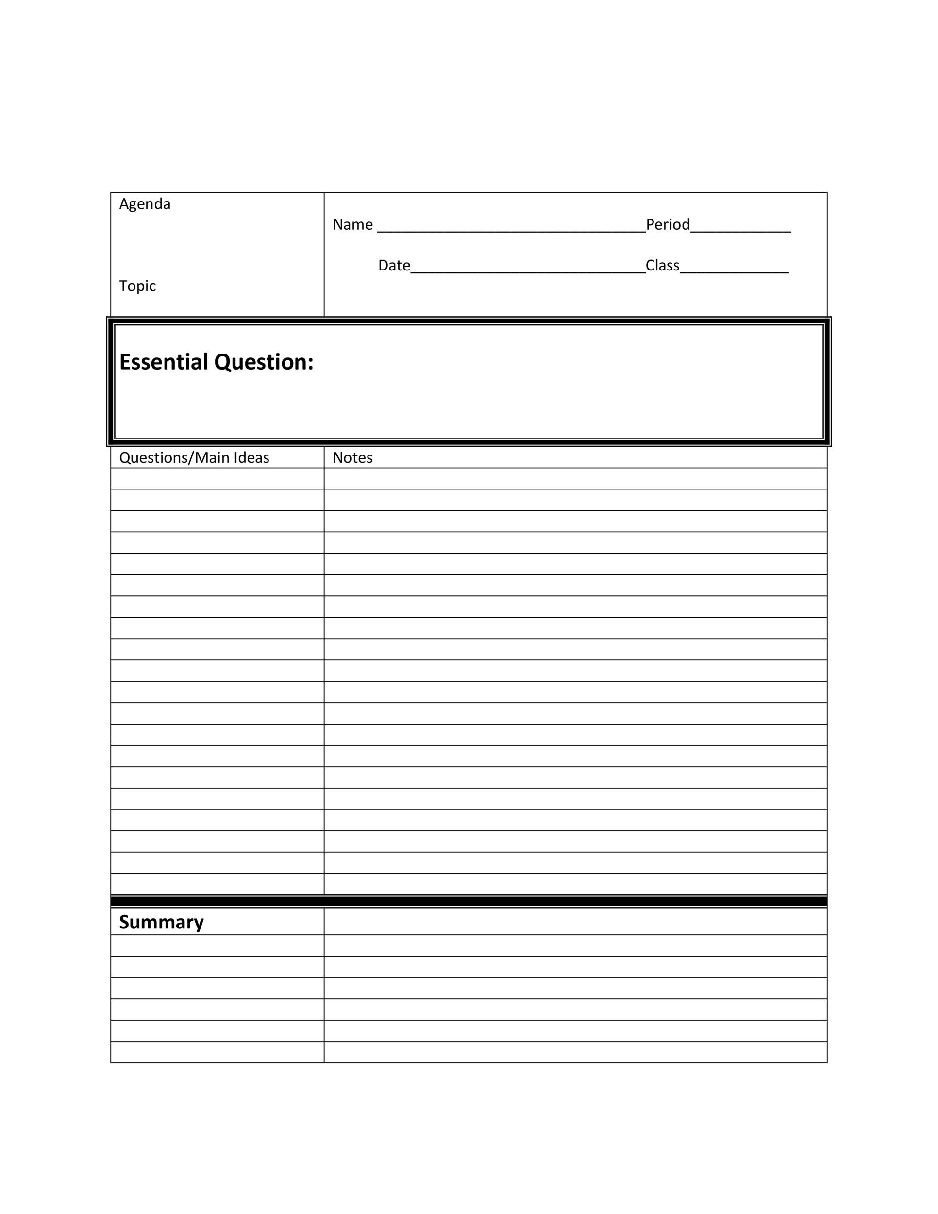 Free Cornell Notes Template 07