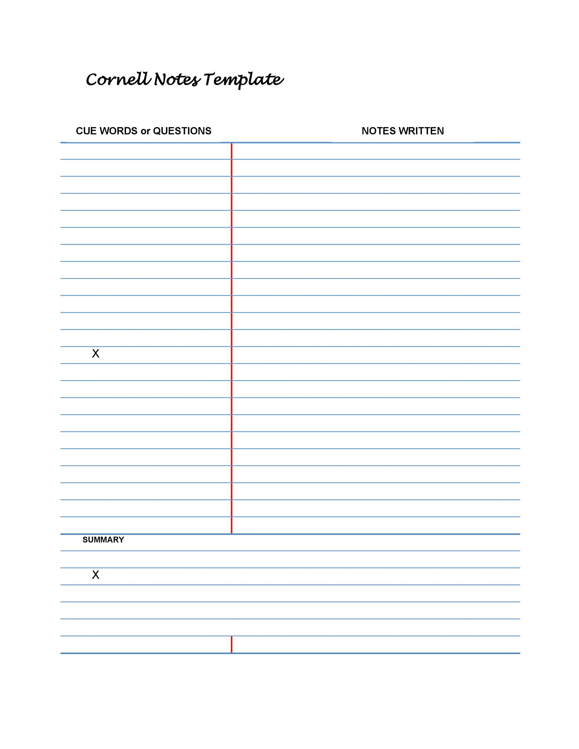 Printable Cornell Notes Template 10  Microsoft Word Note Taking Template