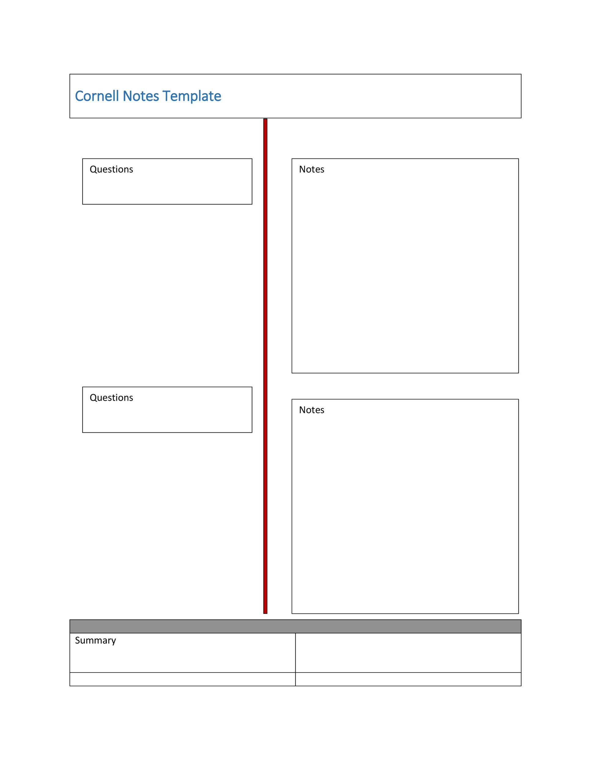Free Cornell Notes Template 11