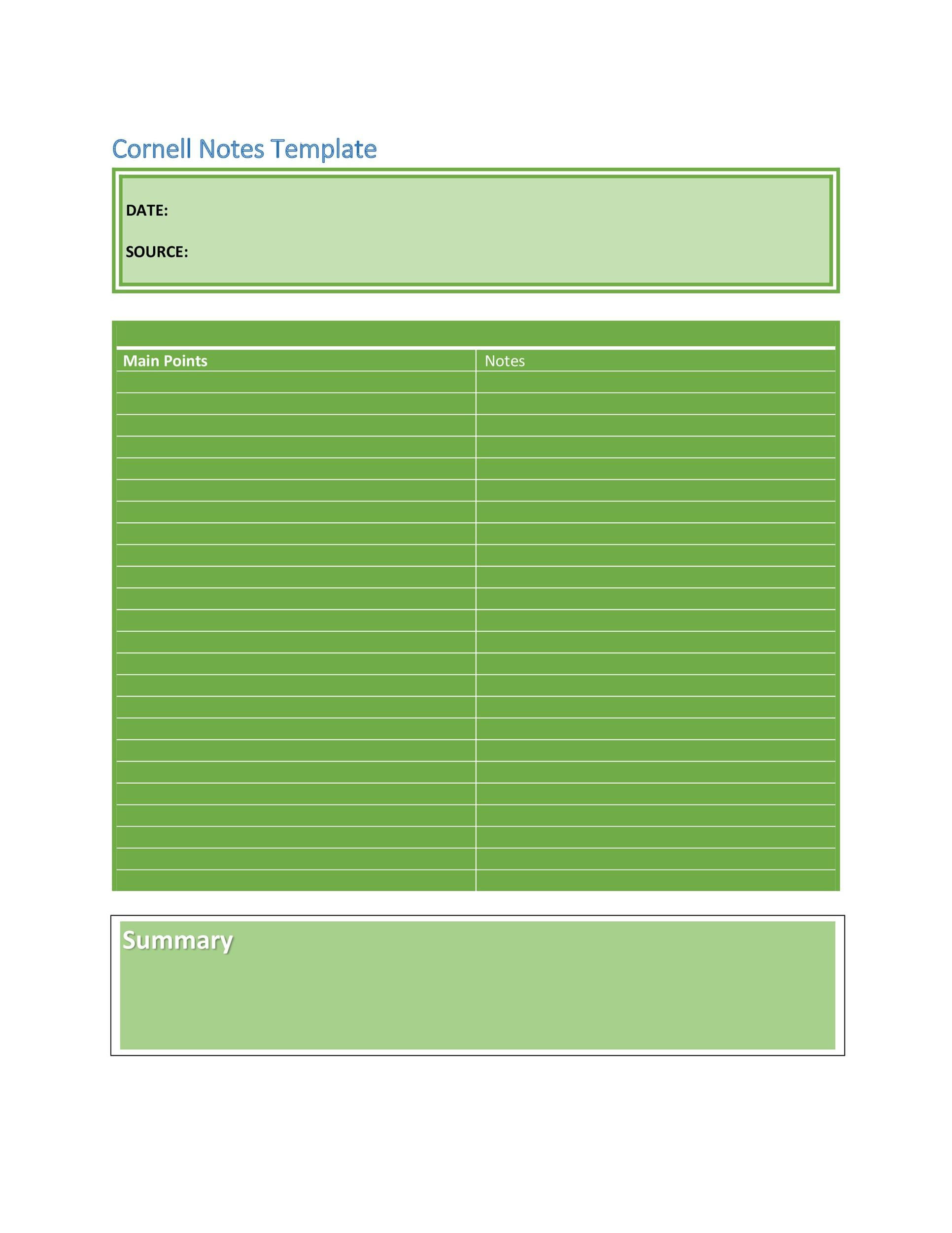 Free Cornell Notes Template 12