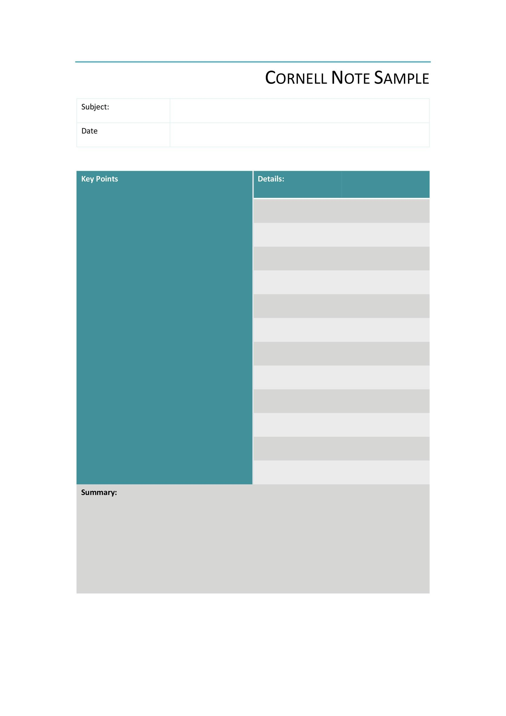 Blank Cornell Notes Template   Free Word Excel Pdf
