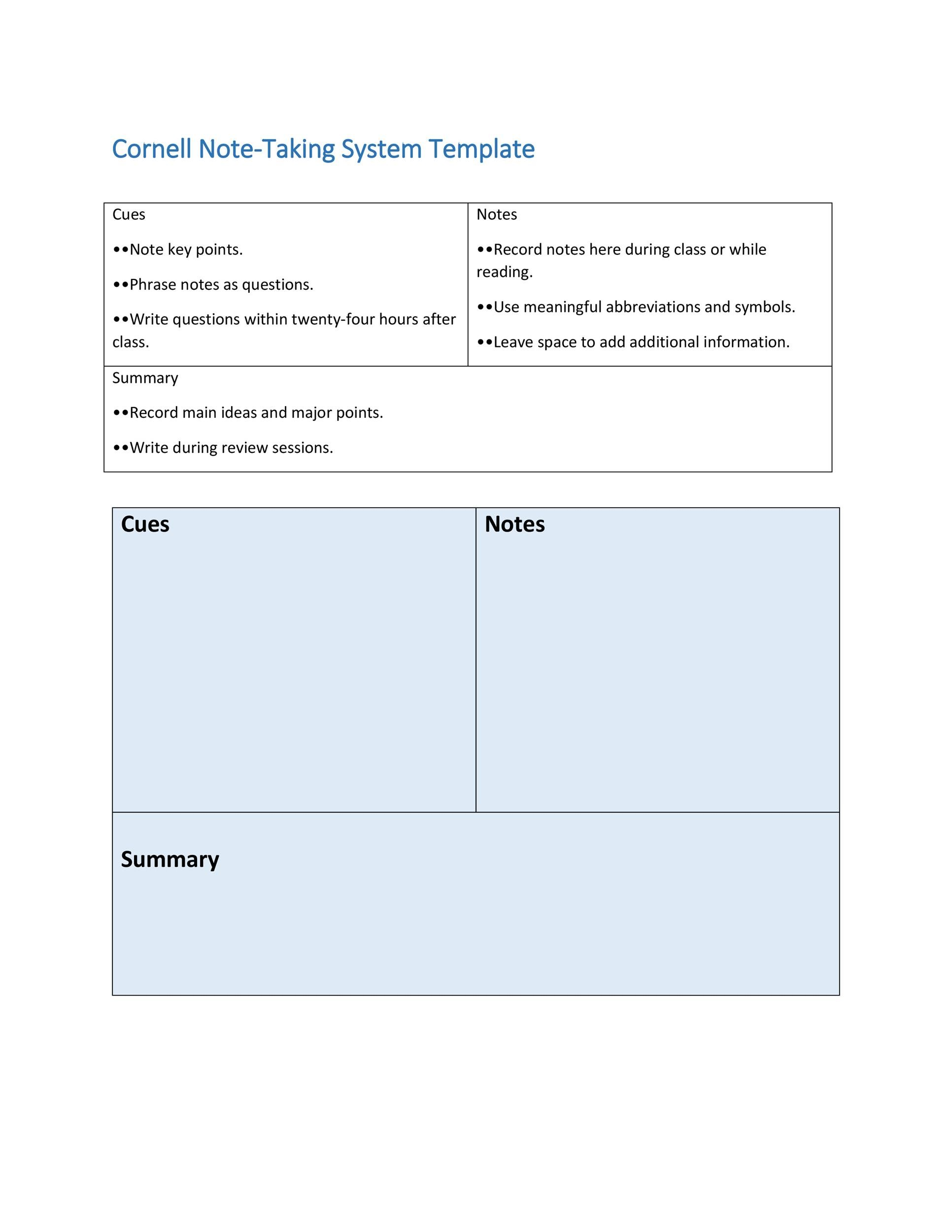 Printable Cornell Notes Template 16