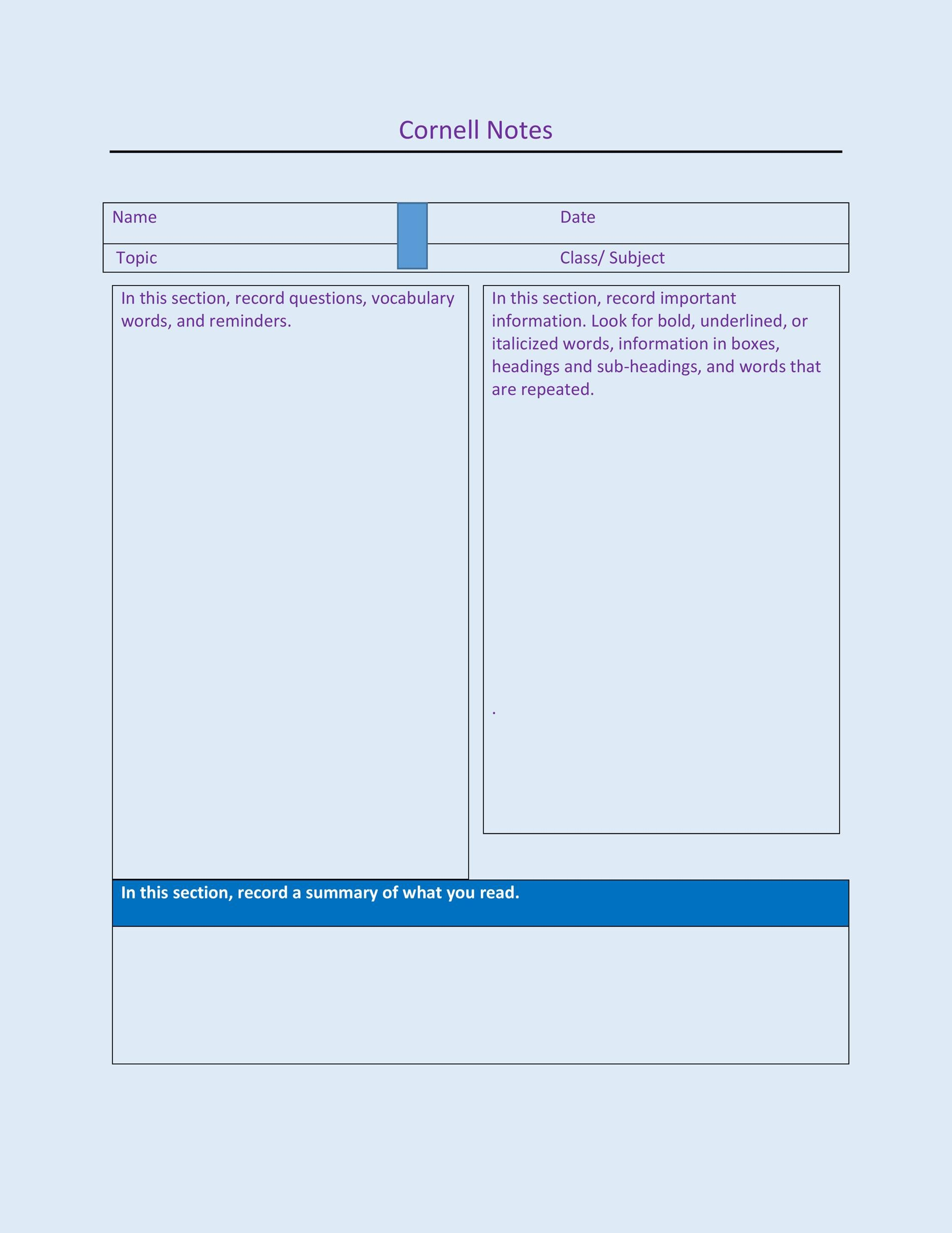 Cornell Notes Template 19