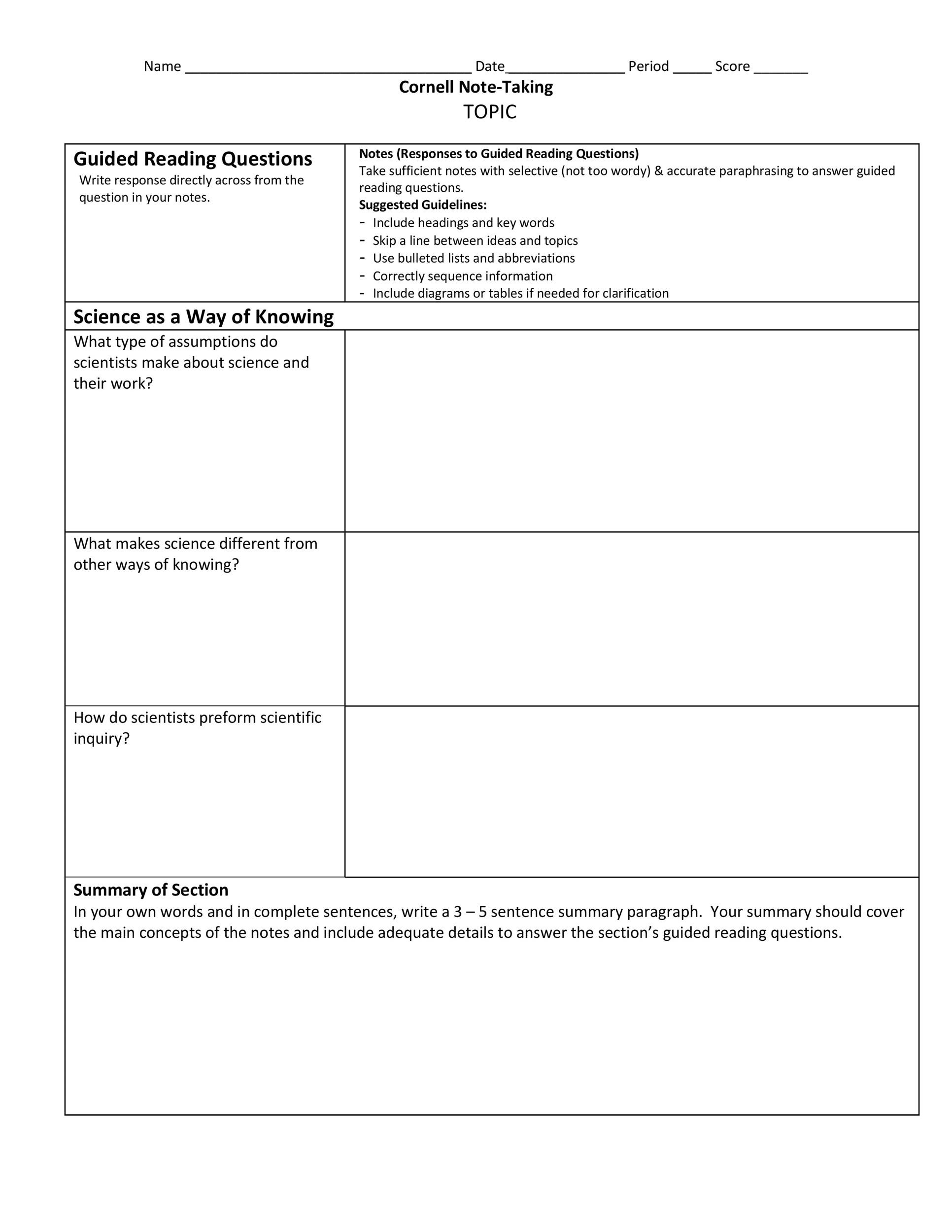 Free Cornell Notes Template 22