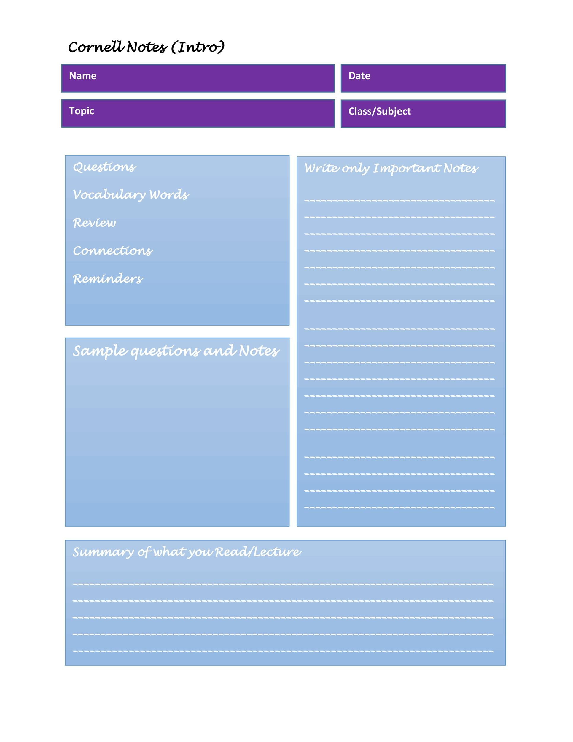 Free Cornell Notes Template 23