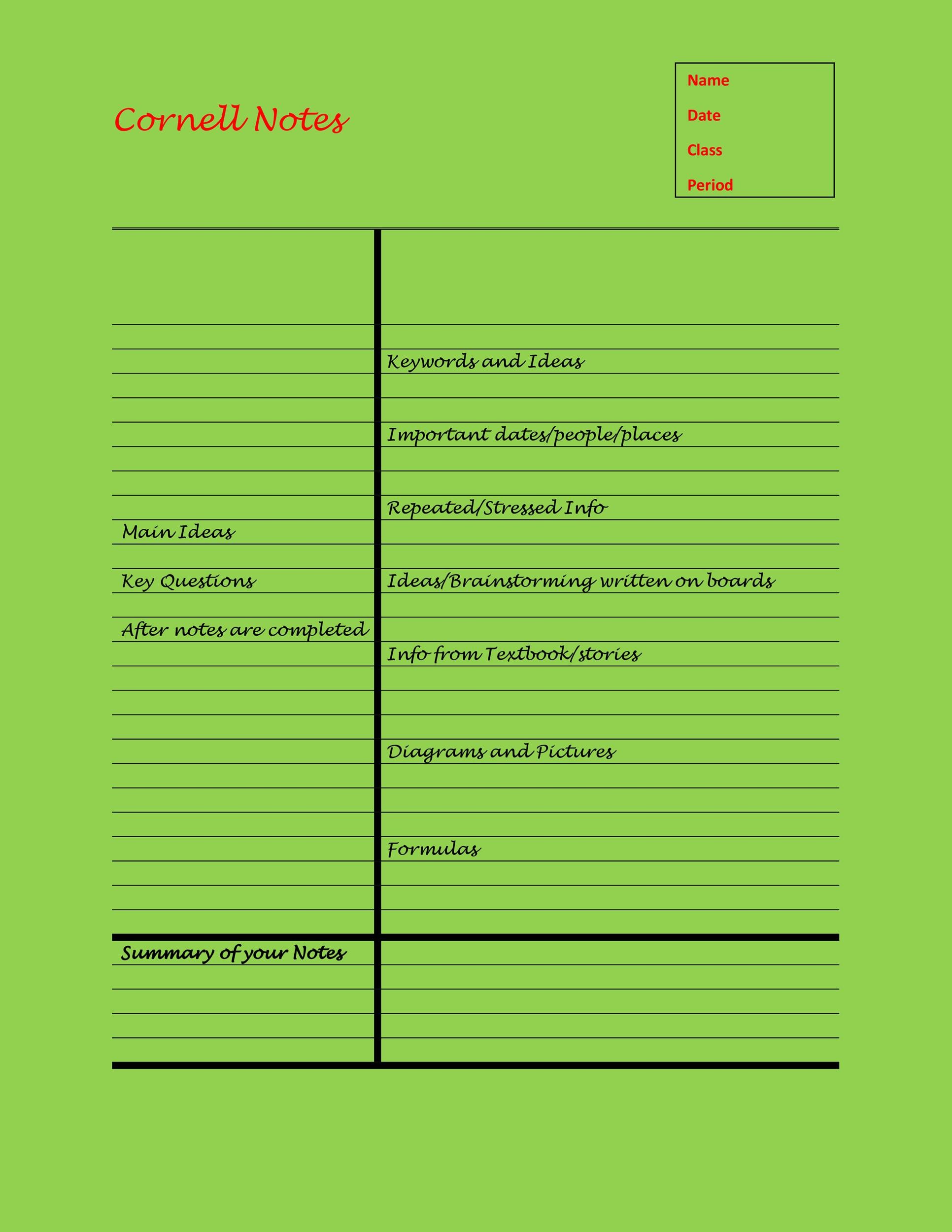 Free Cornell Notes Template 24