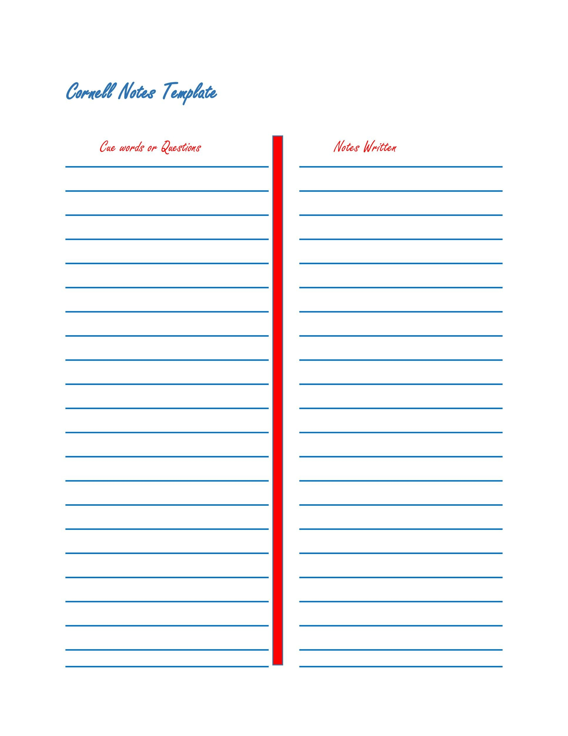 Free Cornell Notes Template 25