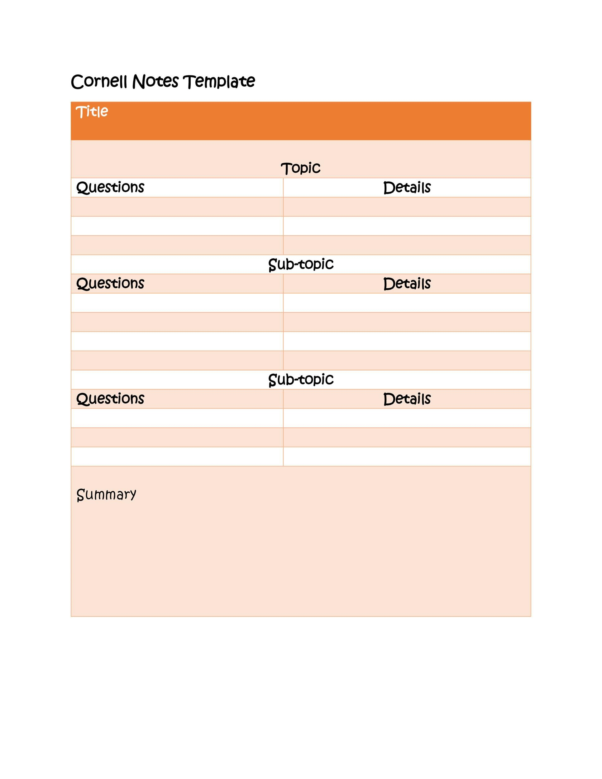 Free Cornell Notes Template 26