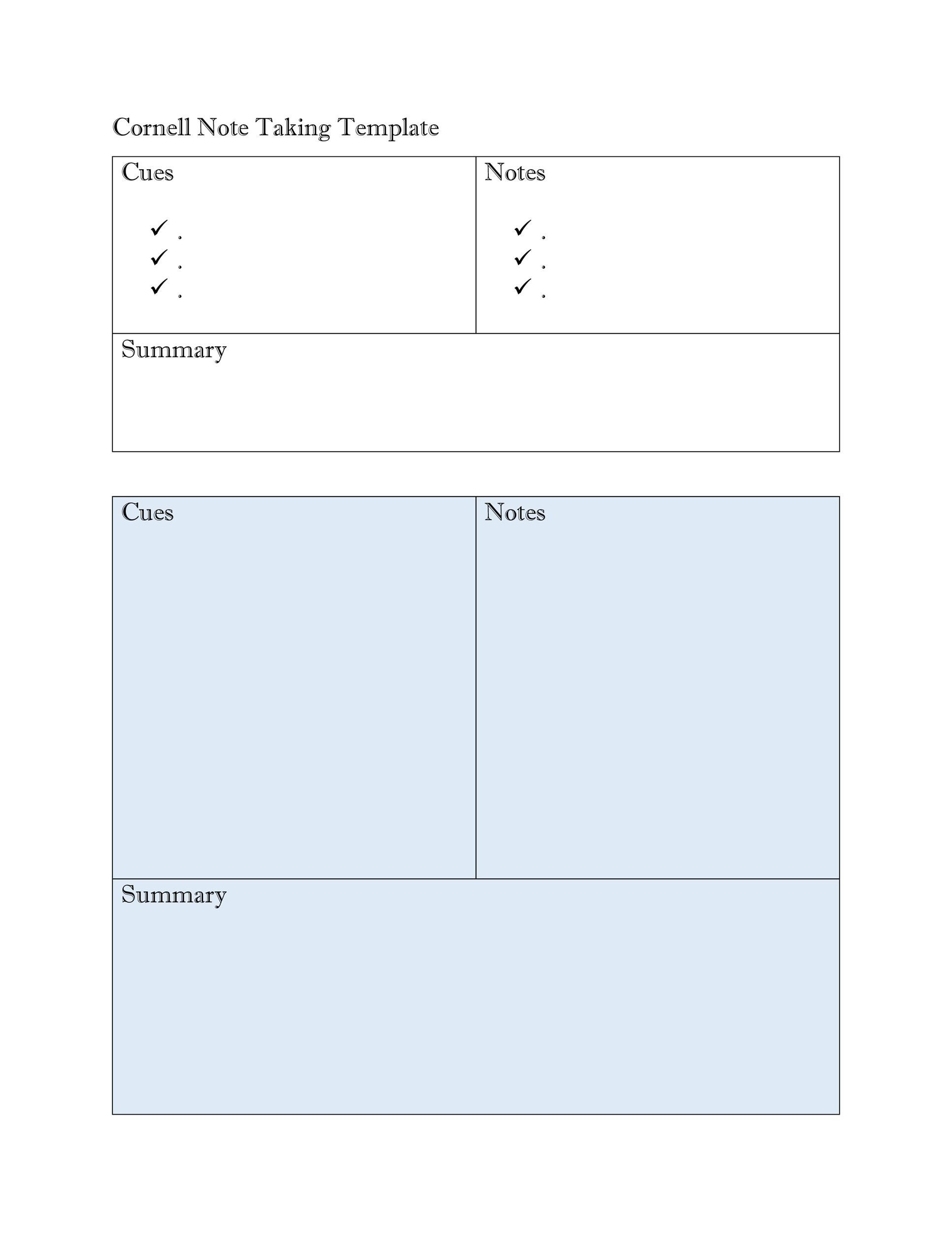 Lovely Printable Cornell Notes Template 28