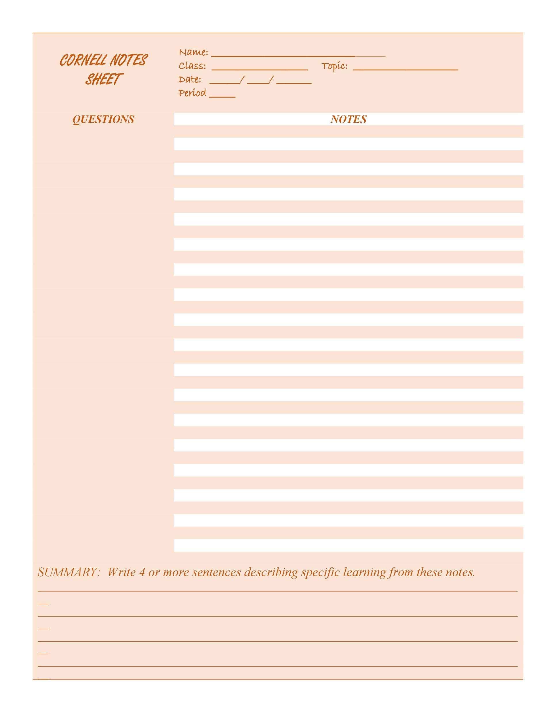 photo about Printable Note identified as 36 Cornell Notes Templates Illustrations [Phrase, PDF] ᐅ