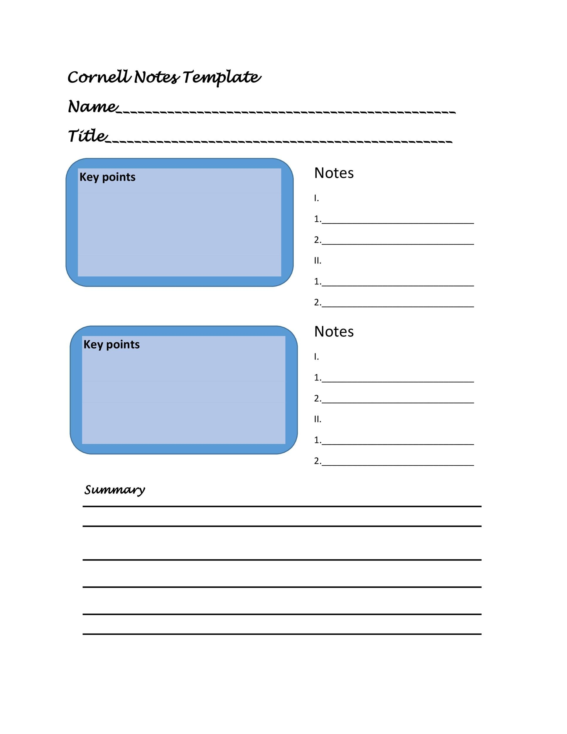 Free Cornell Notes Template 35