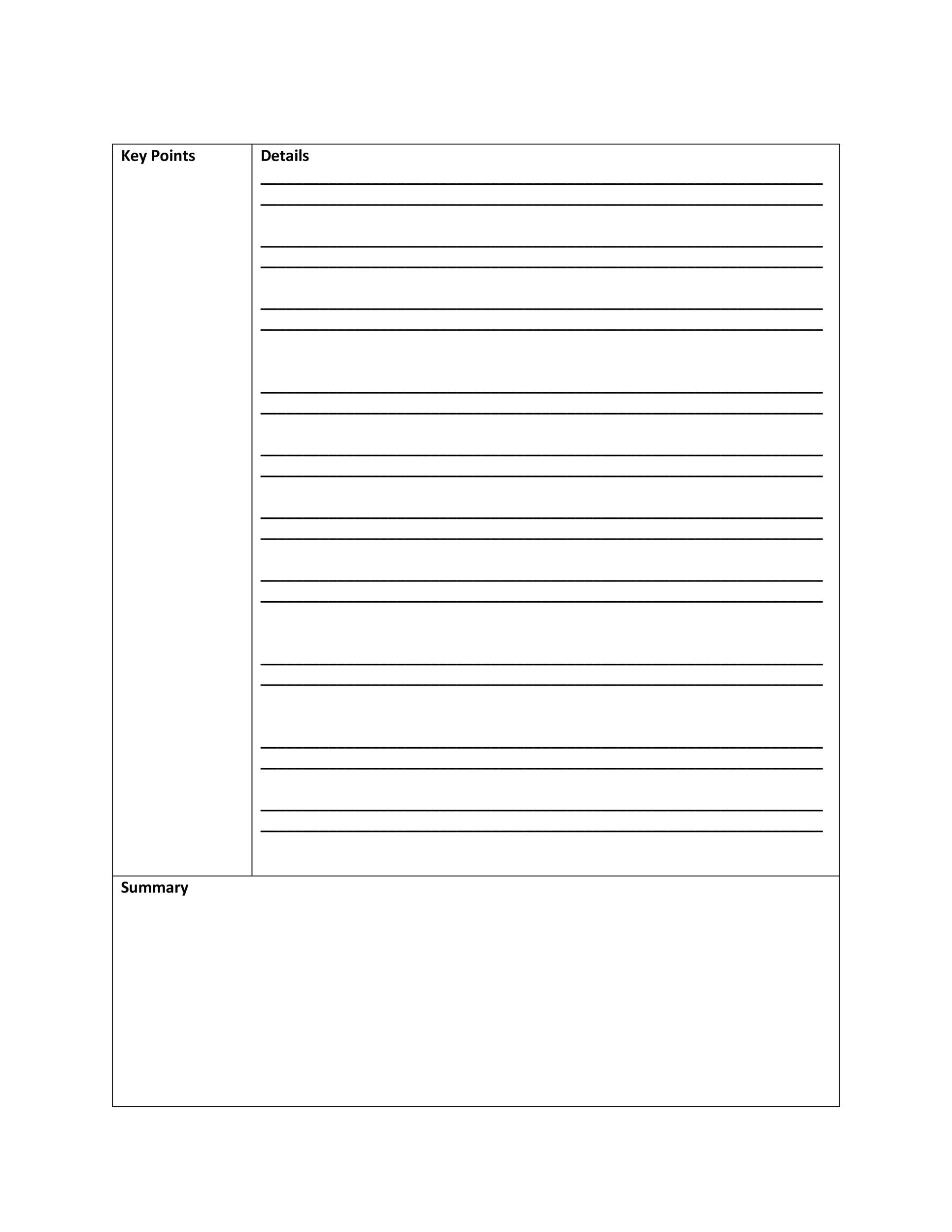 Free Cornell Notes Template 36