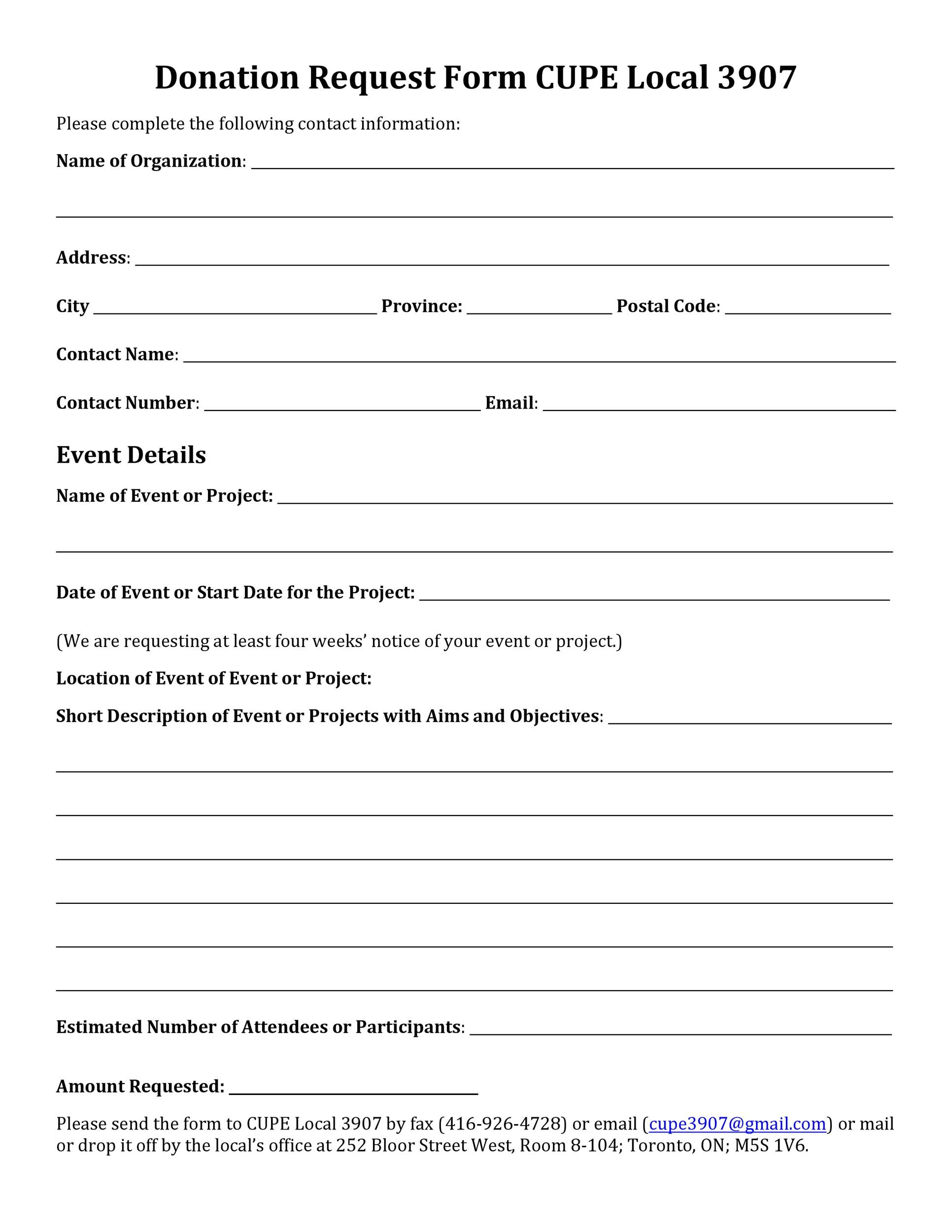 sample donation request form