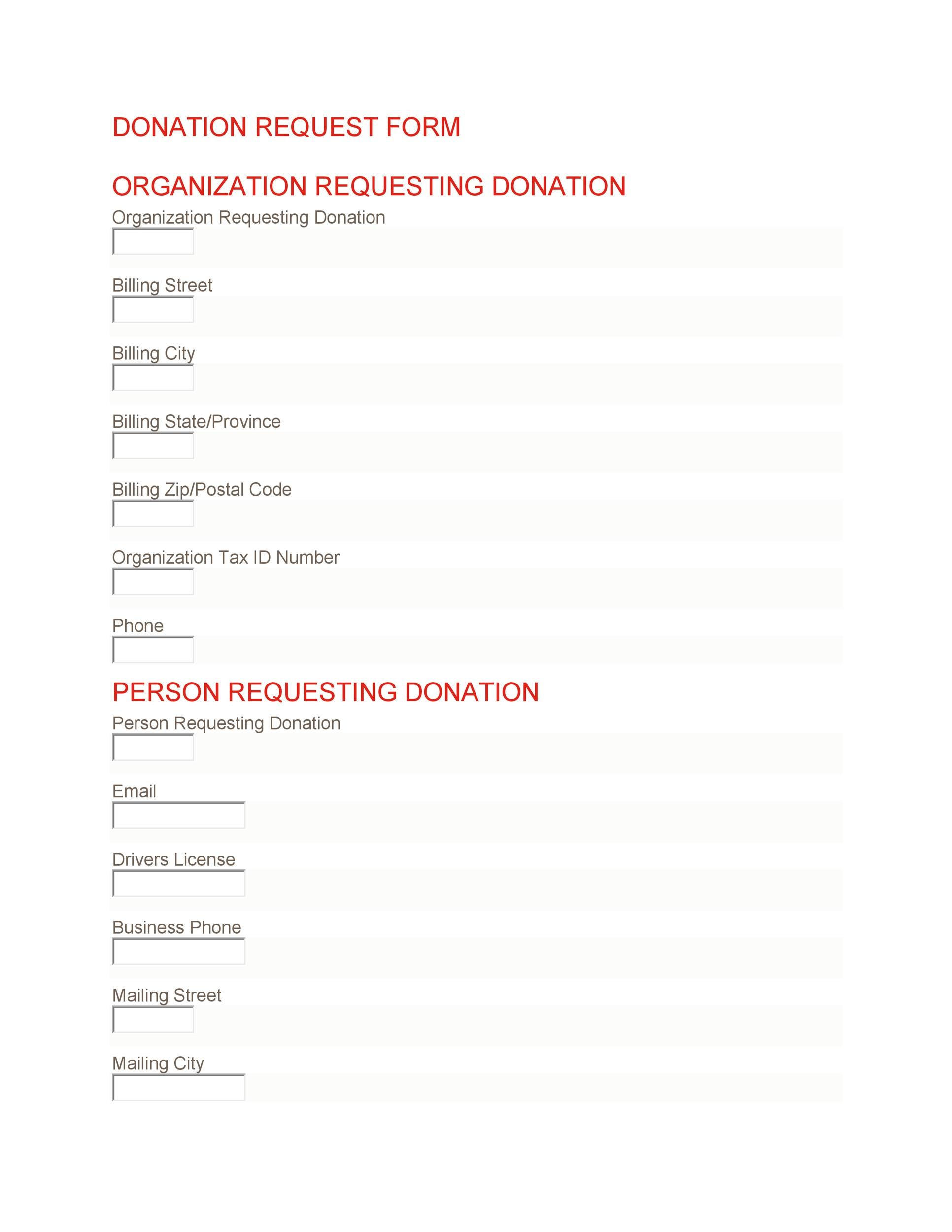 Free Donation Request Form 08