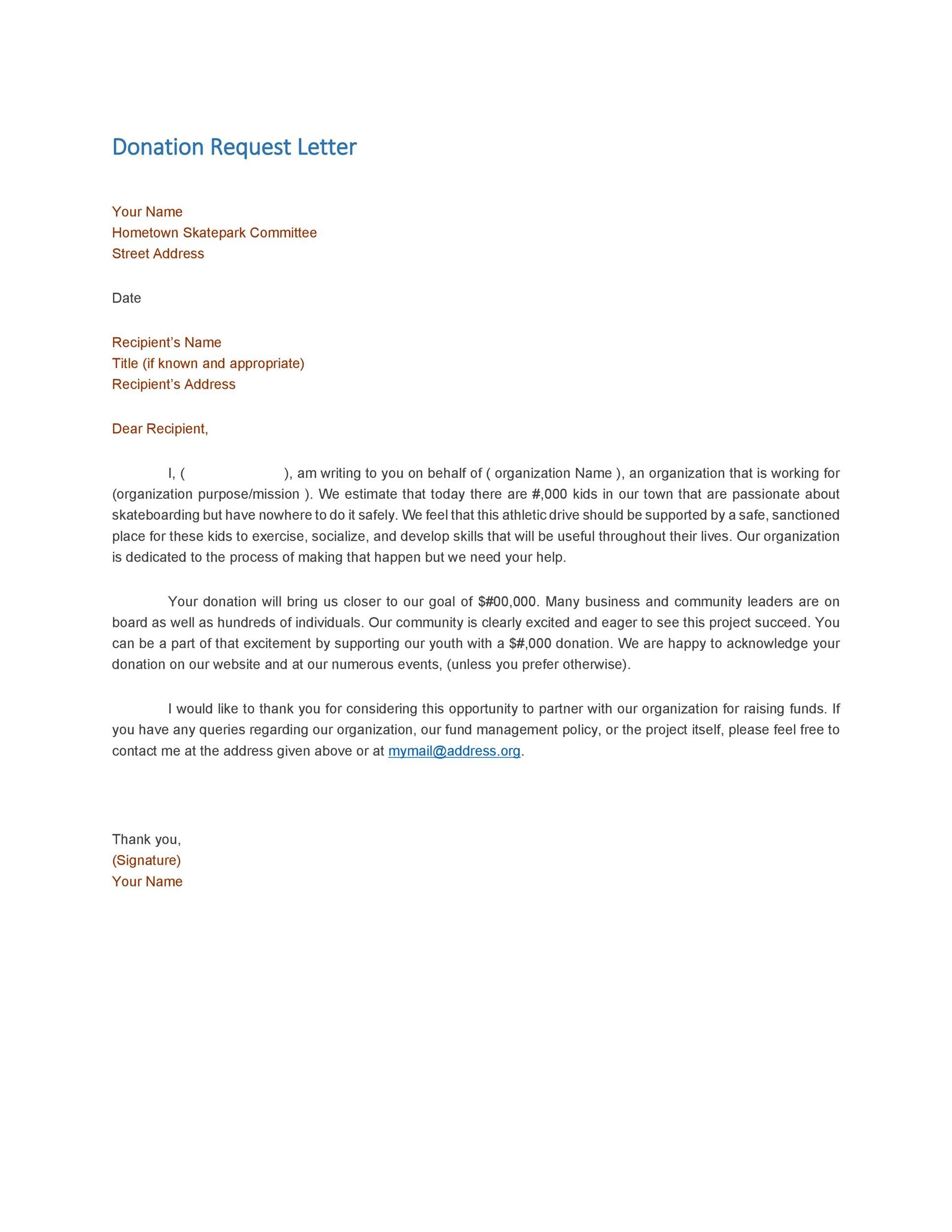 Letter Requesting Donations  Template