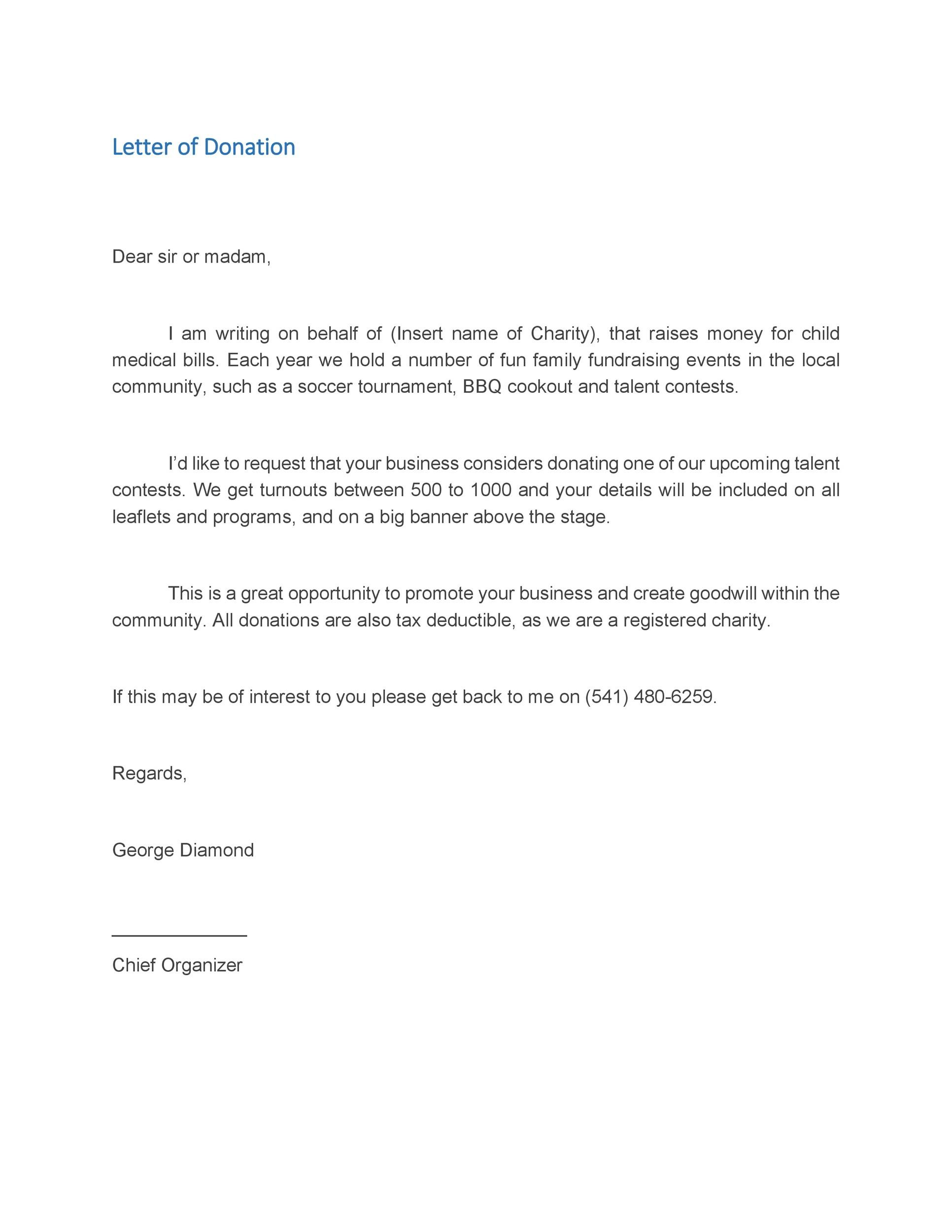 Sample Donation Request Letter To A Company - Template