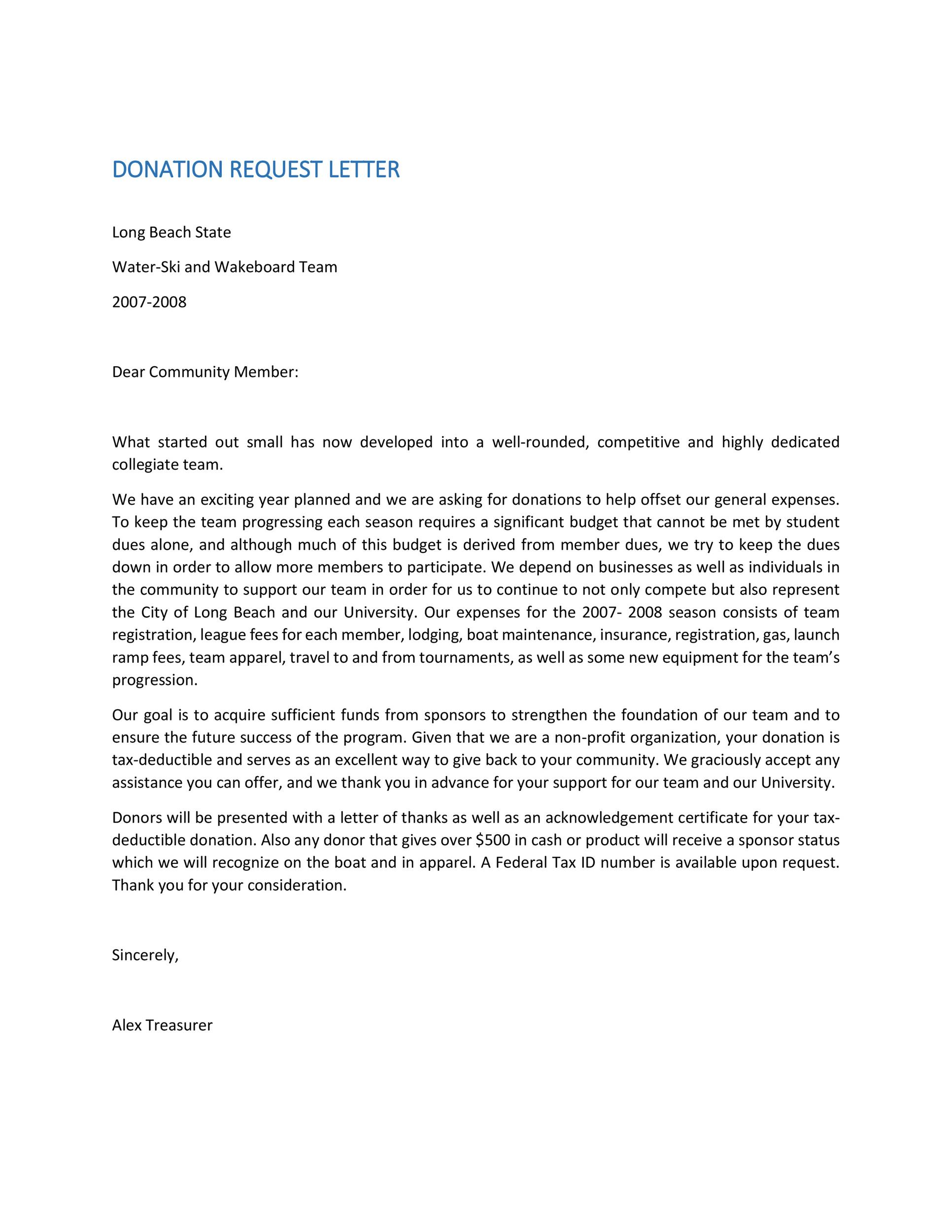 Donation Request Letter For Non Profit Organization  Docoments