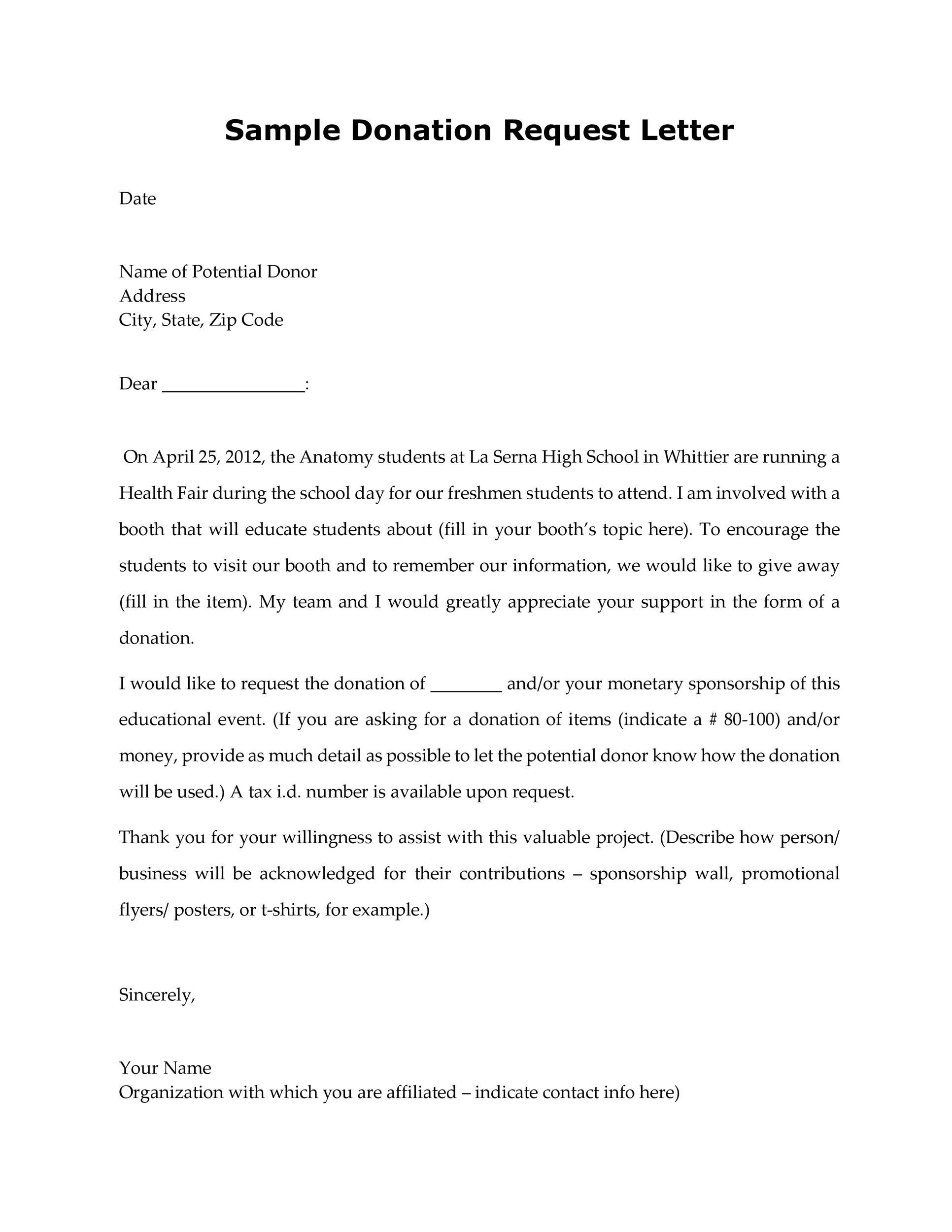 Sample declination letter to sponsorship