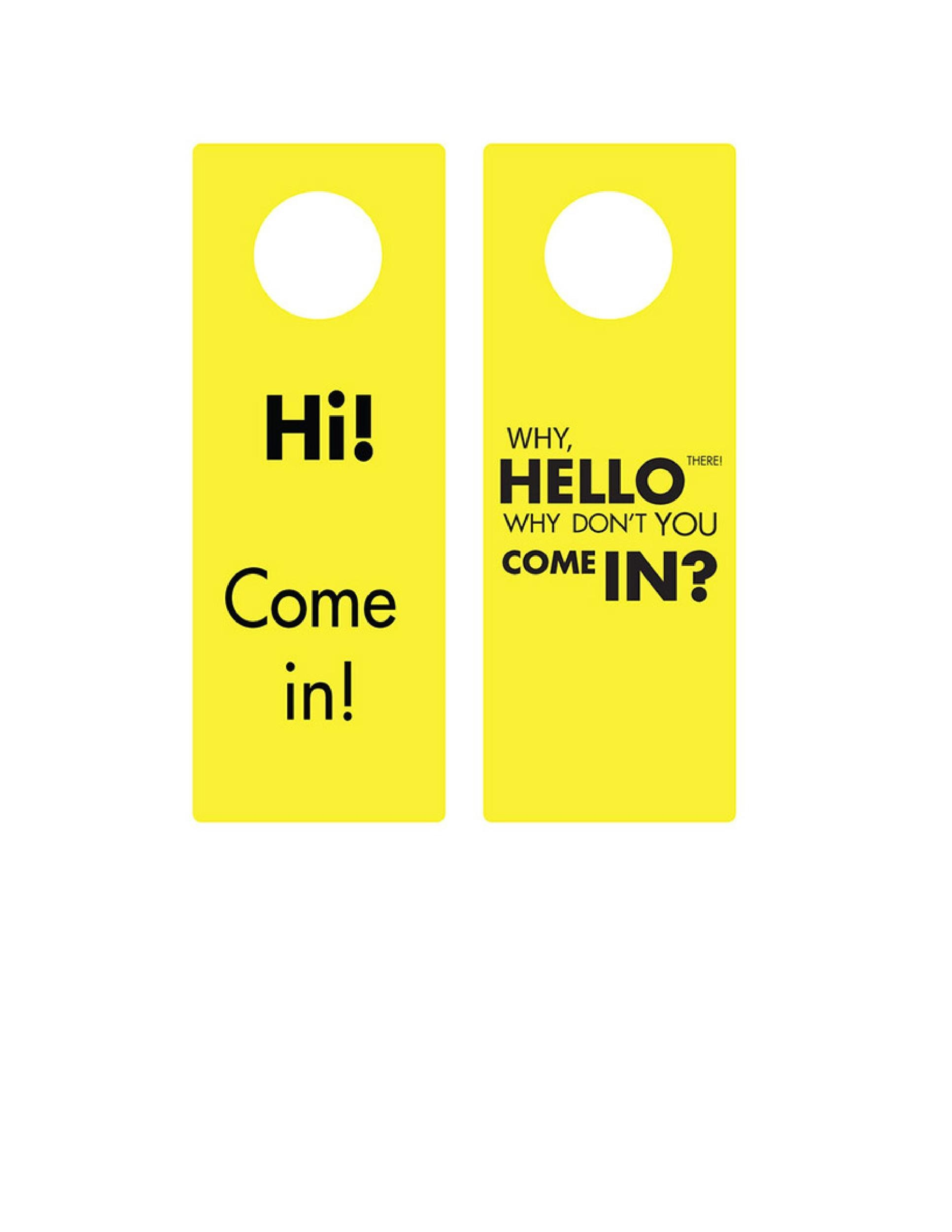 graphic about Printable Door Hanger Template referred to as 43 Cost-free Doorway Hanger Templates (Term, PDF) ᐅ Template Lab