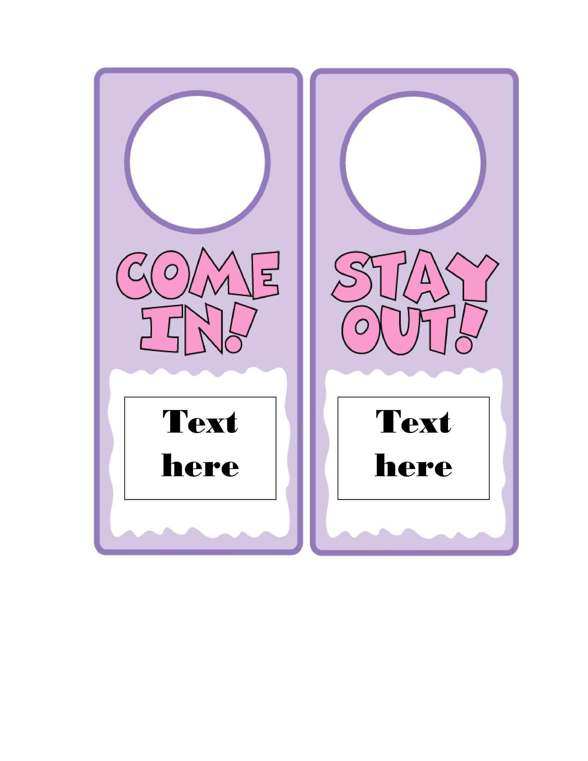 photo regarding Free Printable Door Hanger Template named 43 No cost Doorway Hanger Templates (Term, PDF) ᐅ Template Lab