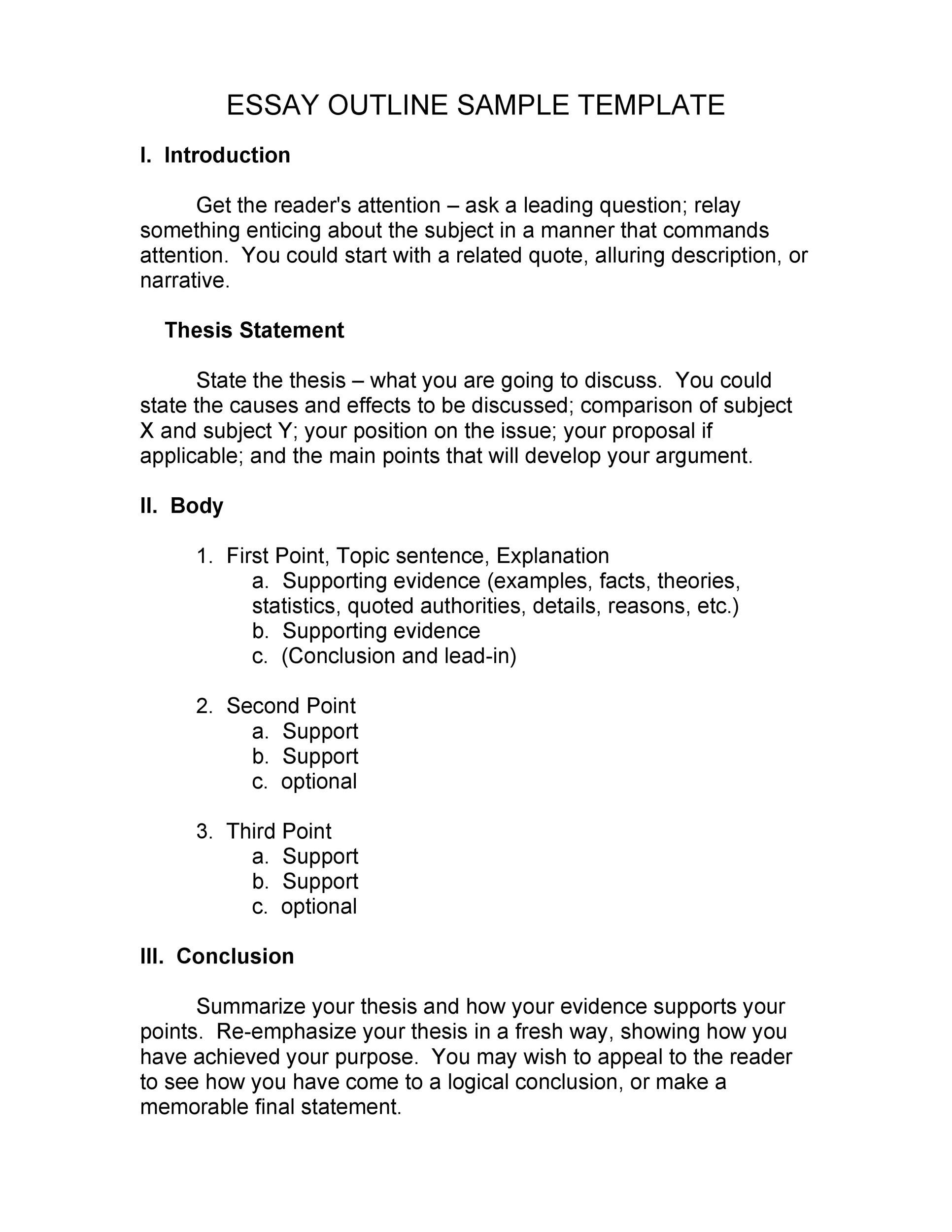 Outstanding Essay Outline Templates Argumentative Narrative